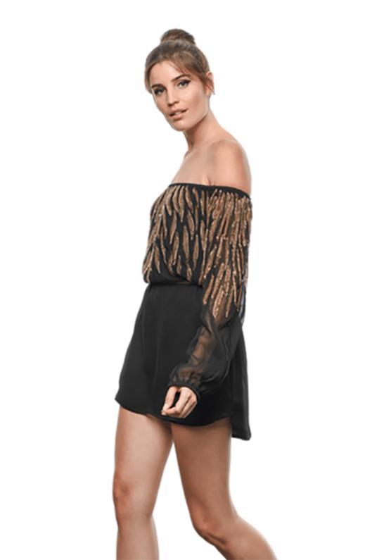 132db3e8ec4 Karina Grimaldi Vanessa Beaded Mini Dress In Black in Black - Lyst