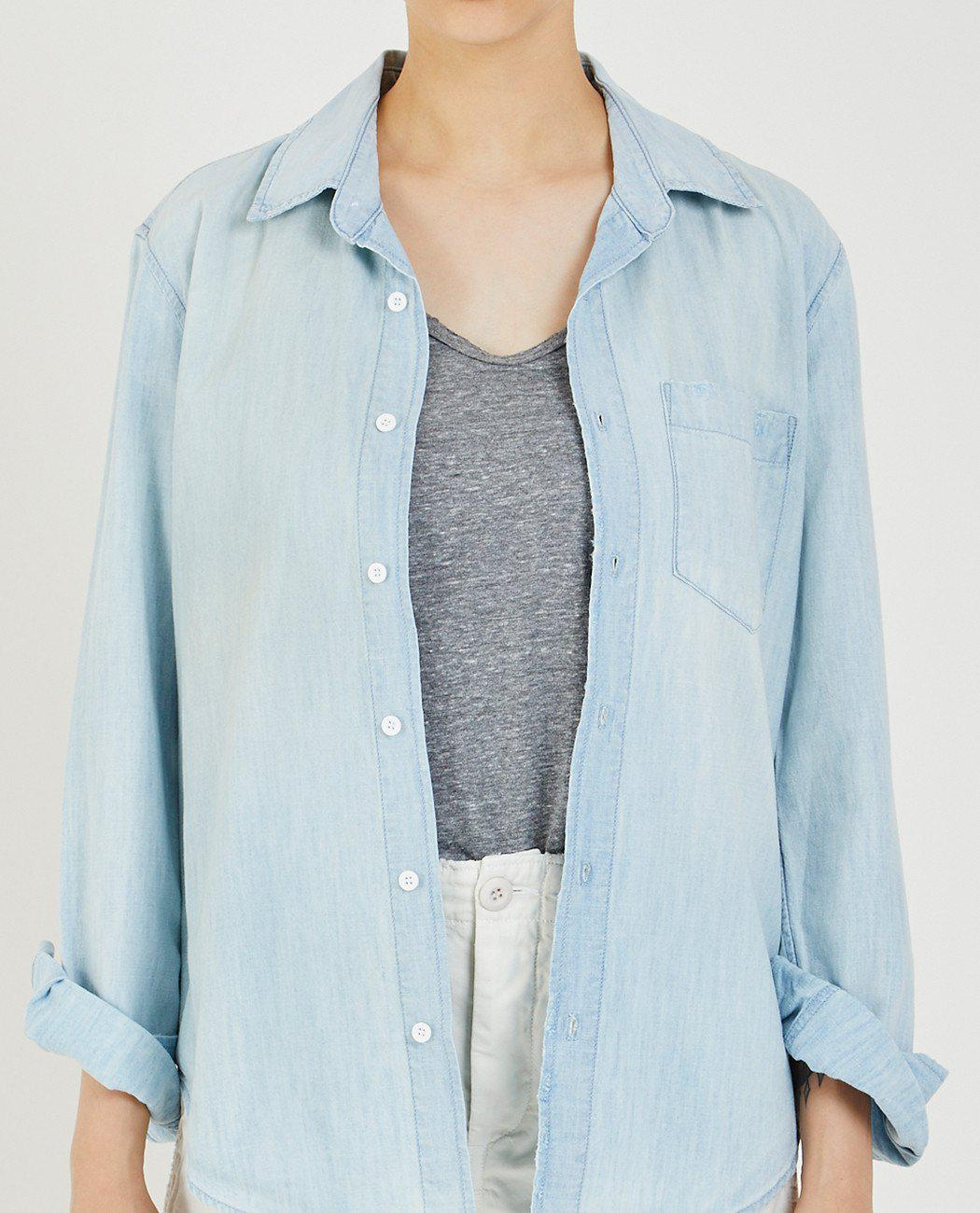 Amo Woman Prep Distressed Cotton-chambray Shirt Light Denim Size S Amo Cheapest Price For Sale Best Wholesale Sale Wholesale Price Best Prices For Sale zMy6hNp2a