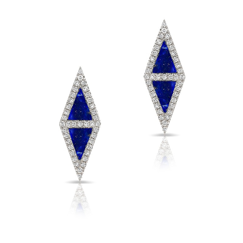 Triangle Earrings: Anne Sisteron 14kt White Gold Lapis Diamond Double