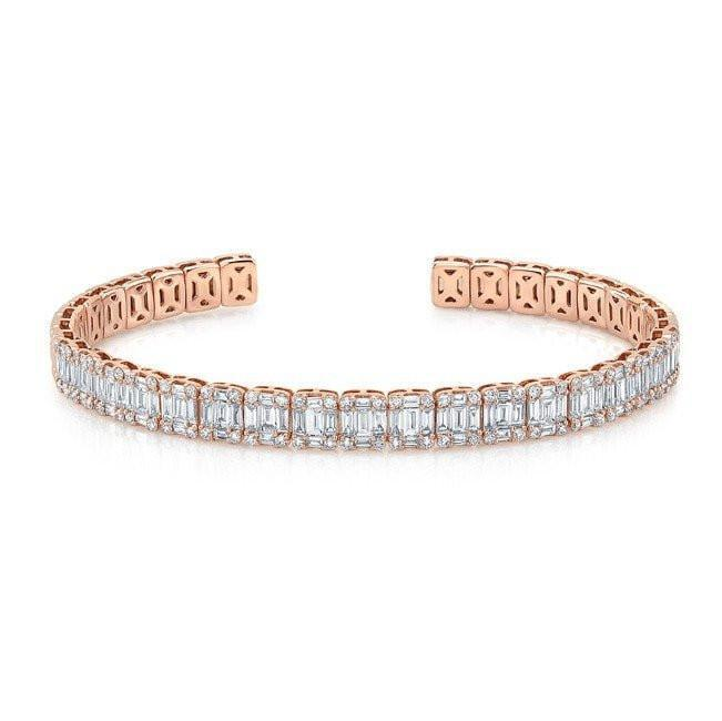 Borgioni Baguette Toggle Bracelet Yellow Gold and Diamonds Usr36Tks