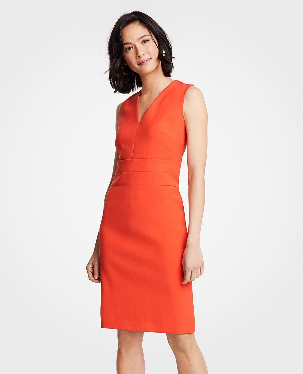 3bad7079d8 Ann Taylor Petite Doubleweave V-neck Sheath Dress in Red - Lyst