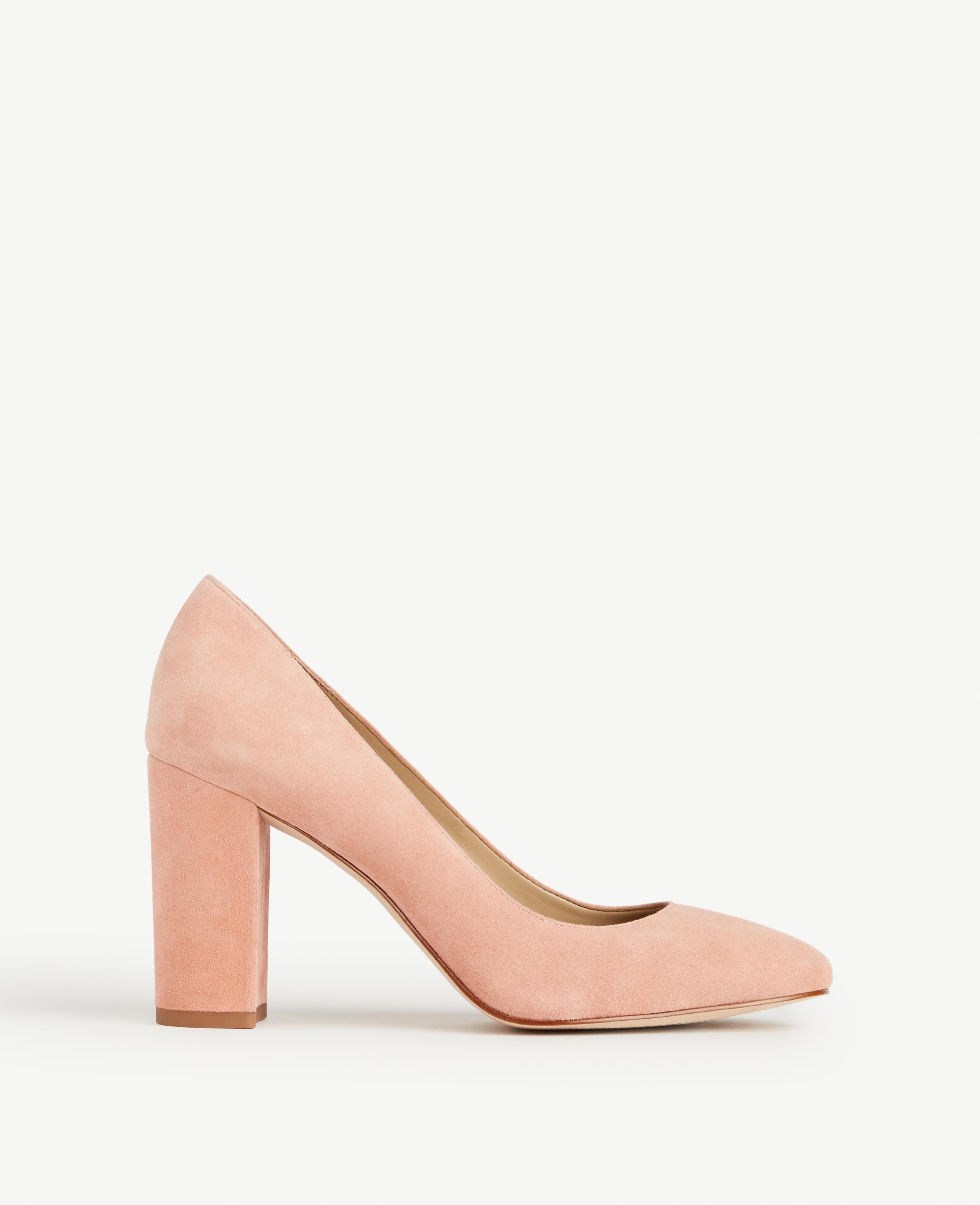 b4abbfc08cb Lyst - Ann Taylor Emeline Suede Block Heel Pumps in Pink