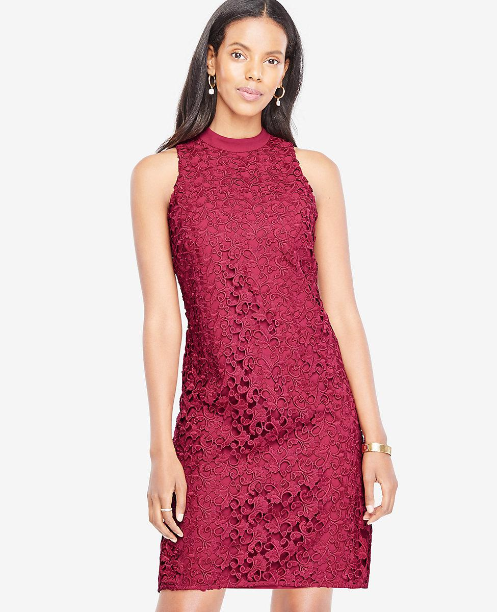 Ann Taylor Floral Lace Mock Neck Dress In Red Lyst