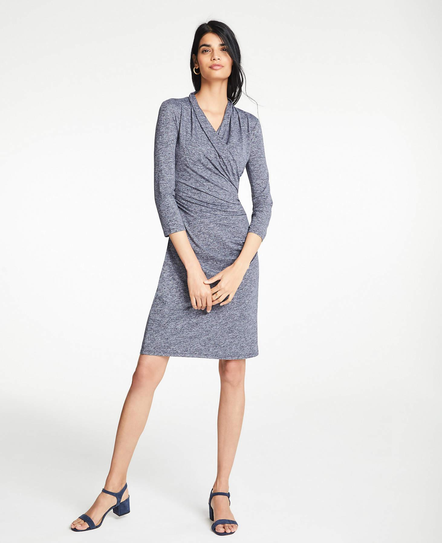 82c725fe8849 Ann Taylor Knit Wrap Dress in Blue - Lyst