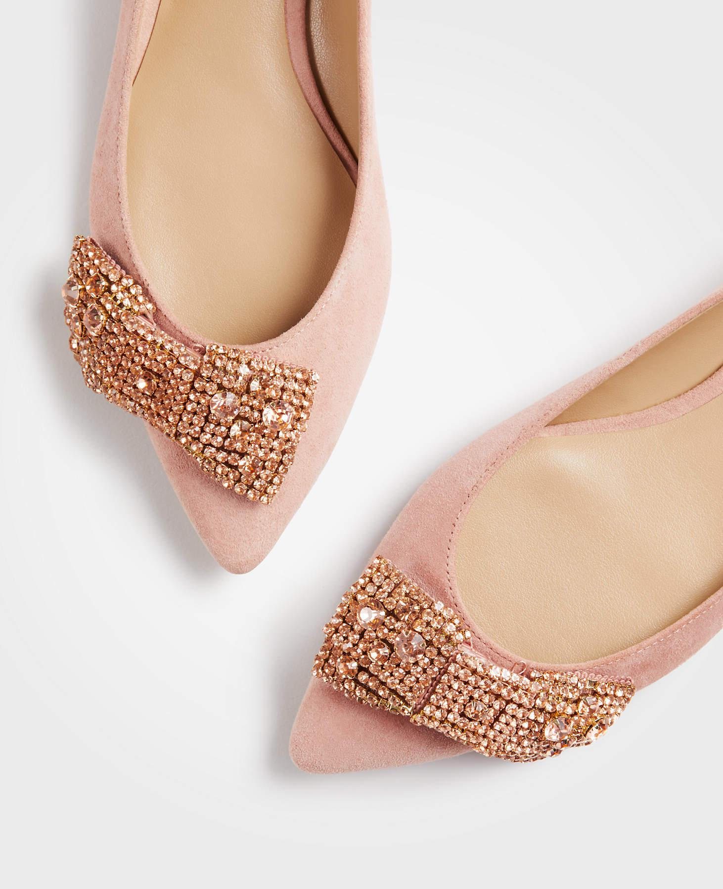 c57d4a69b96b Ann Taylor Camila Sequin Bow Flats in Pink - Lyst