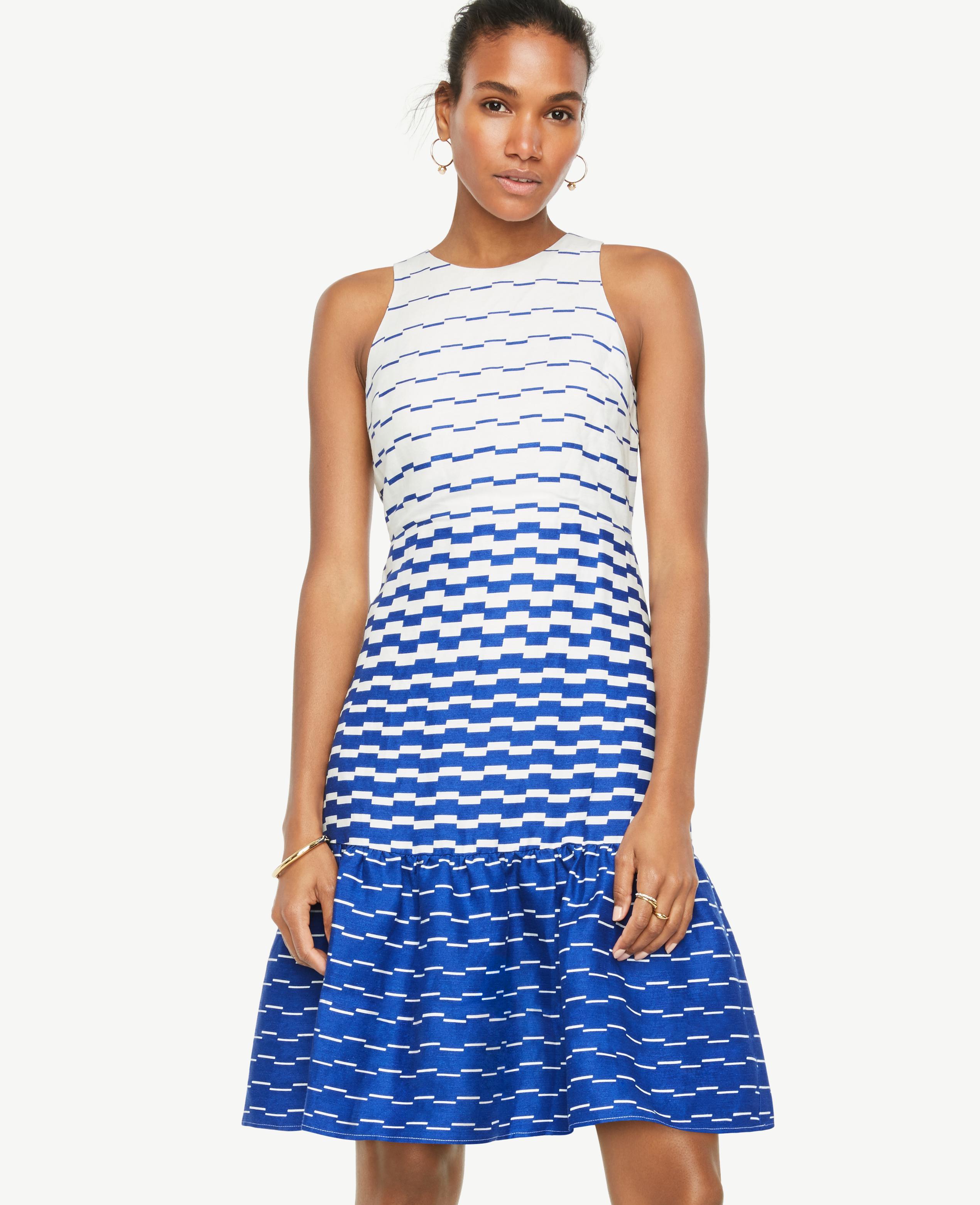 Lyst - Ann Taylor Blurred Stripe Flare Dress in Blue