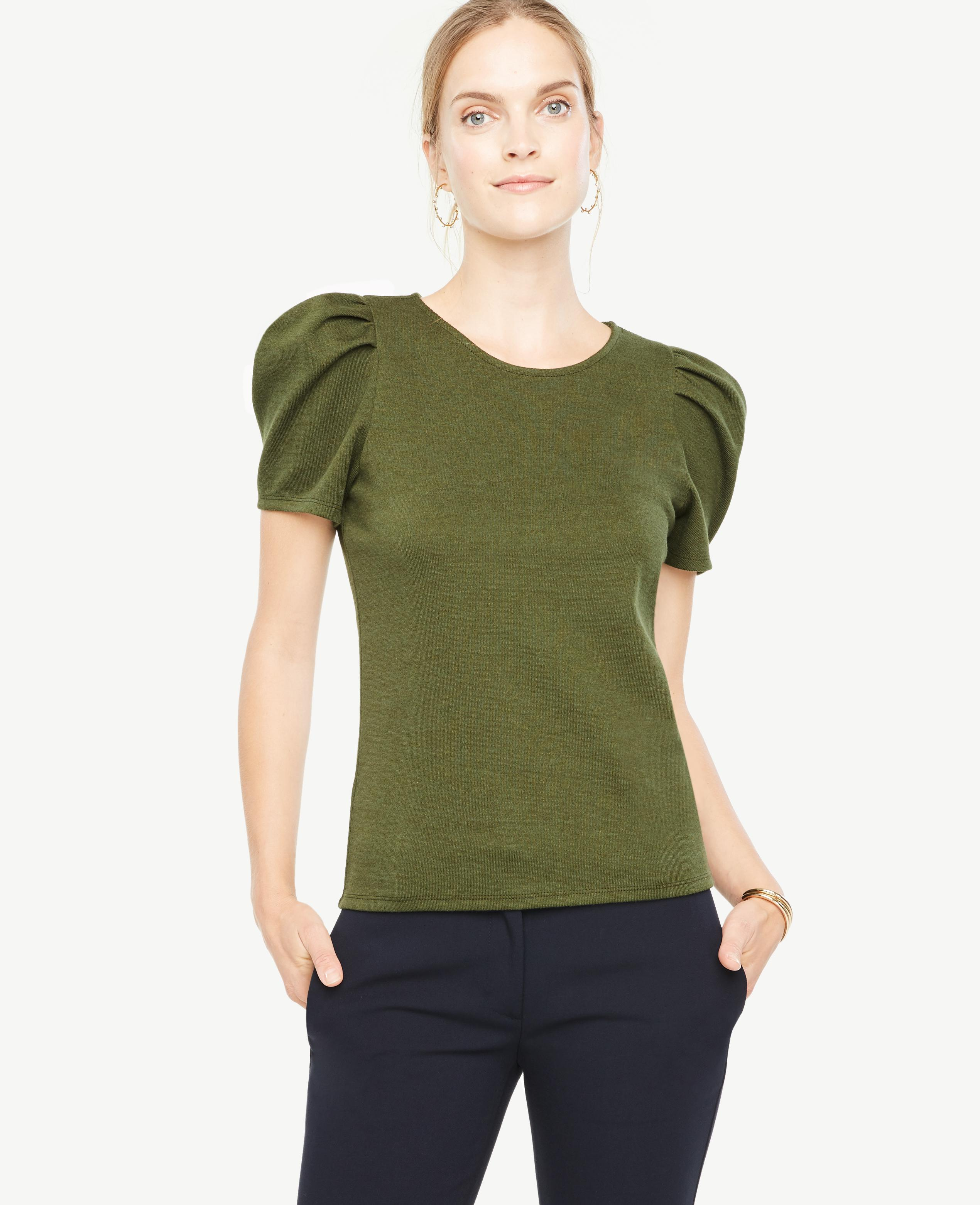 Lyst Ann Taylor Puff Sleeve Top In Green