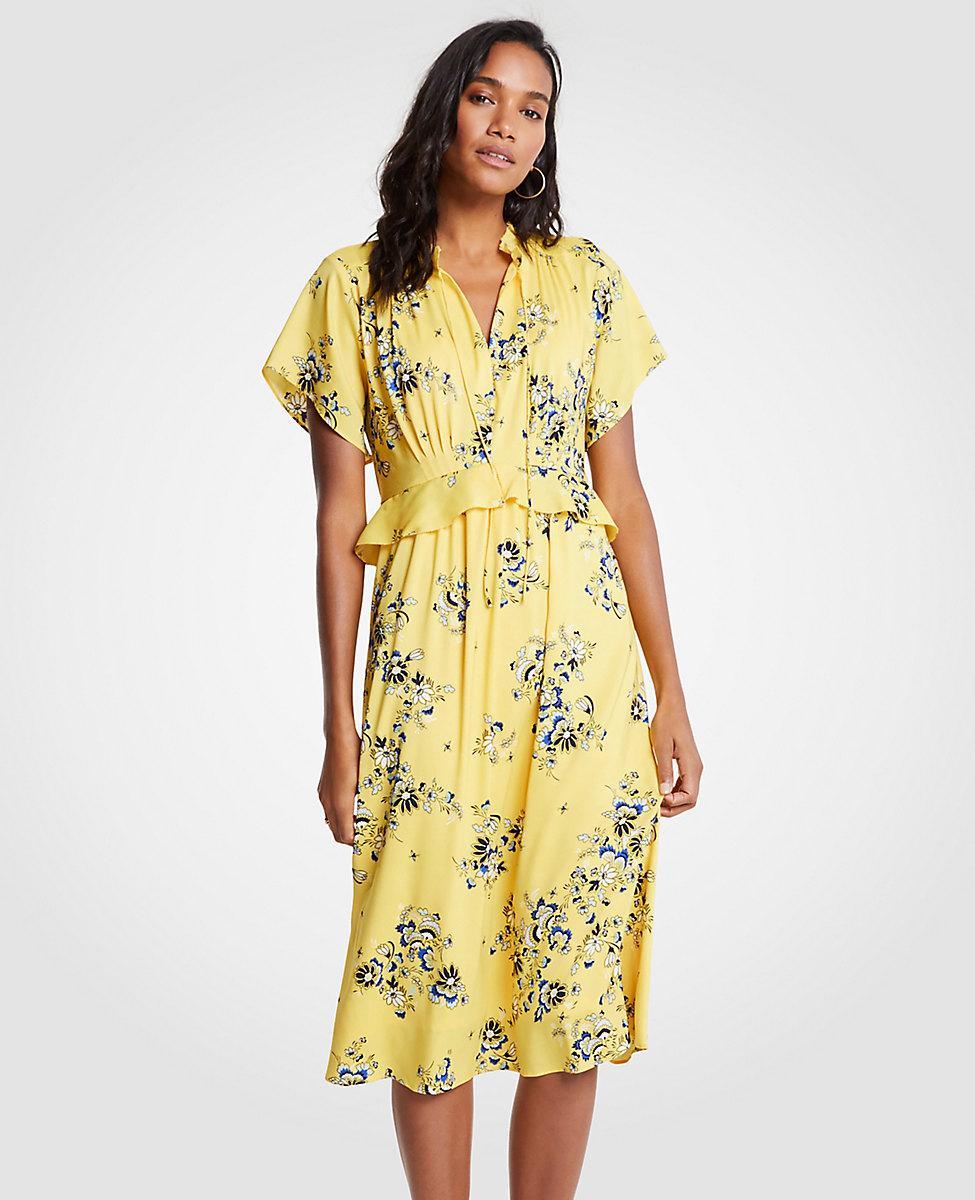 f0e4a8431ad8 Ann Taylor Petite Boho Floral Midi Dress in Yellow - Lyst