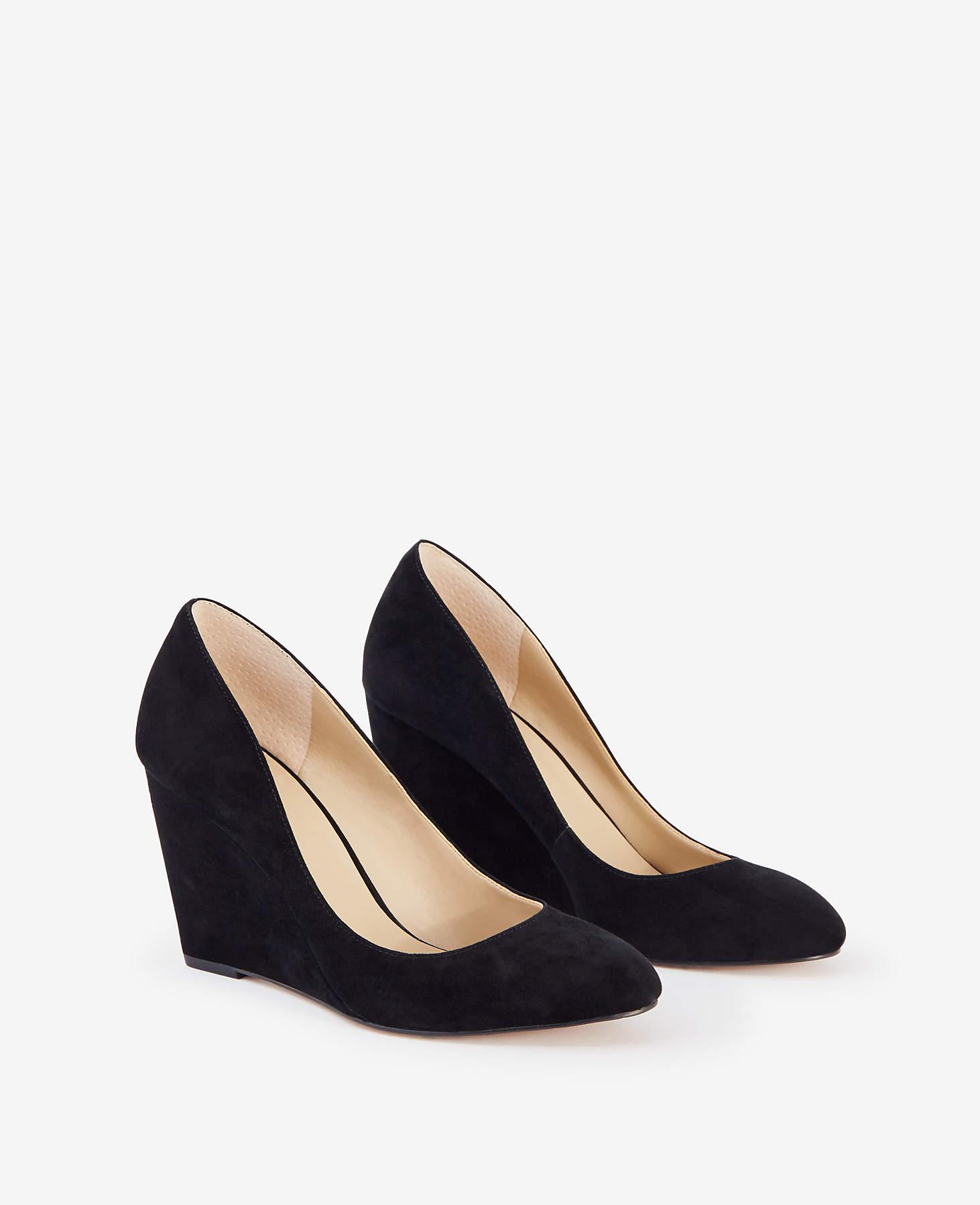887162e2295 Lyst - Ann Taylor Molly Suede Wedge Pumps in Black