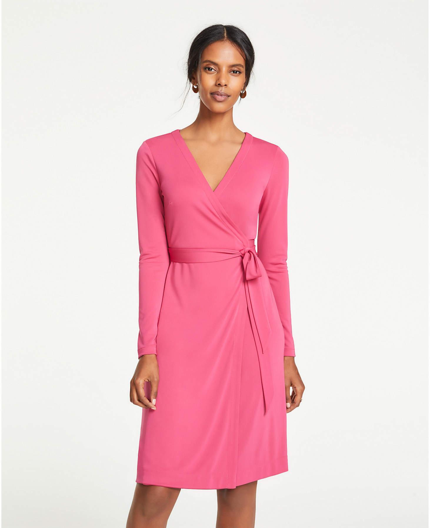 2c6d83eeae4 Lyst - Ann Taylor Matte Jersey Wrap Dress in Pink