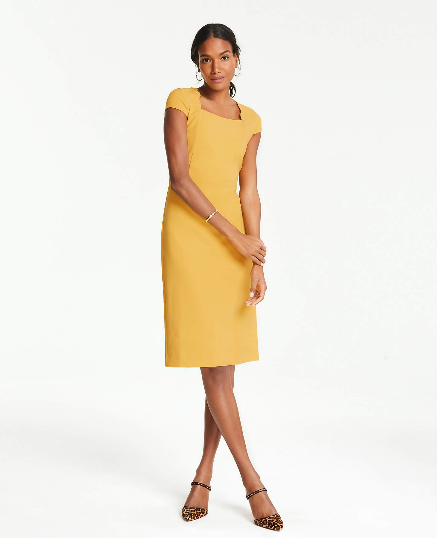 a67f0bb34a7 Ann Taylor - Yellow Scalloped Square Neck Cap Sheath Dress - Lyst. View  fullscreen