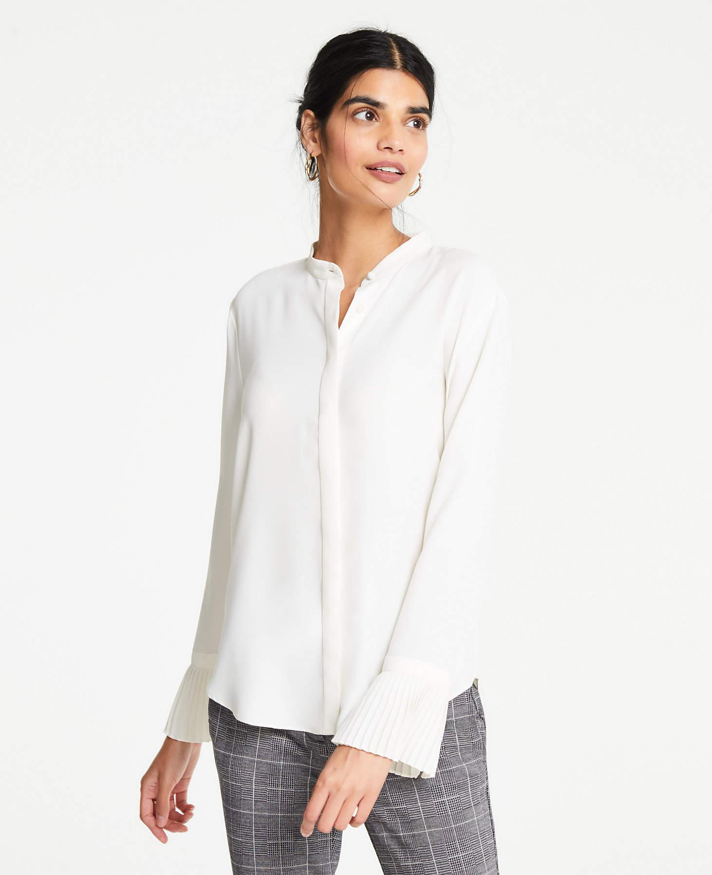 6eabd381171f33 Ann Taylor Pleated Cuff Blouse in White - Save 2% - Lyst