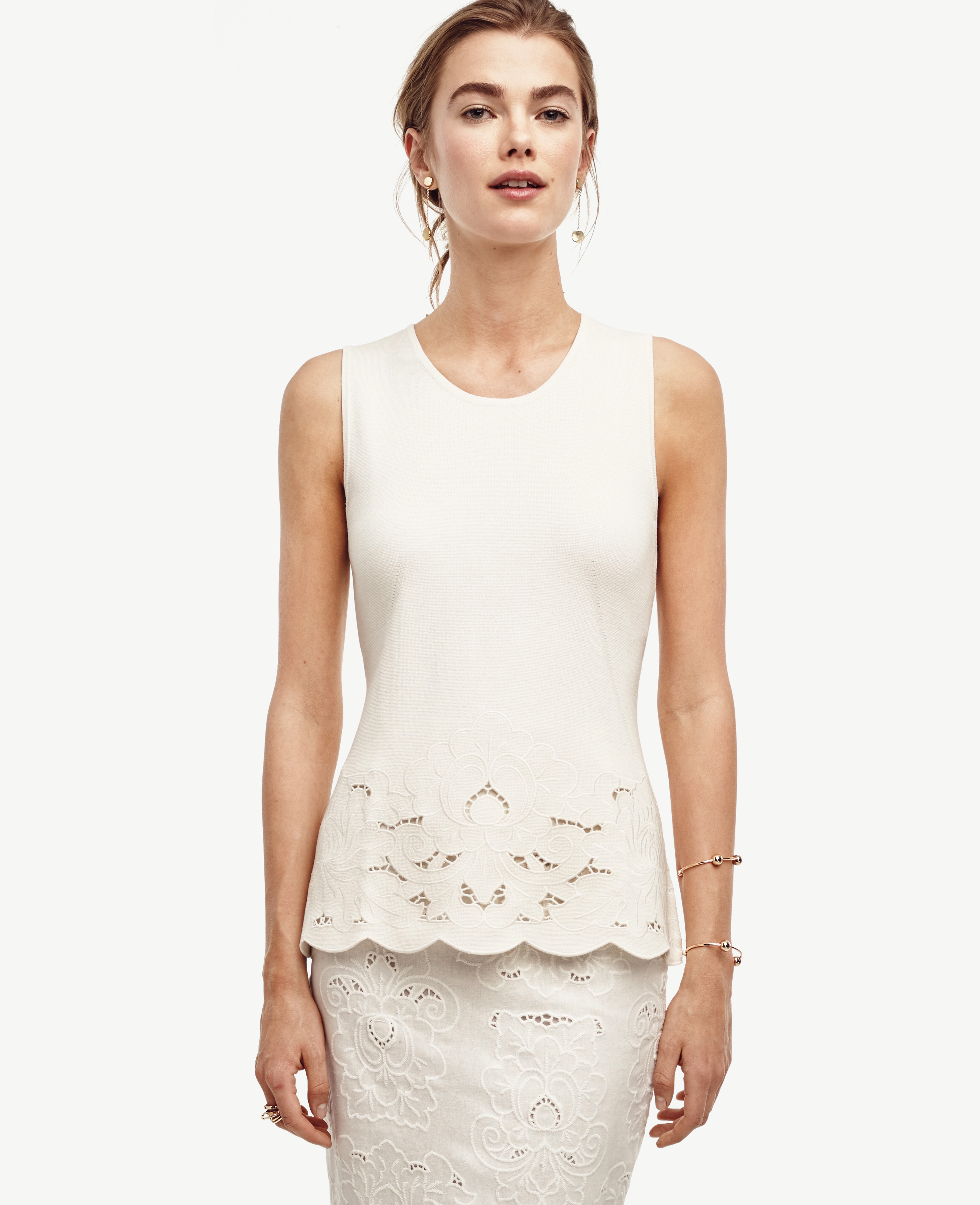 Ann Taylor Floral Trim Sleeveless Sweater In White Lyst