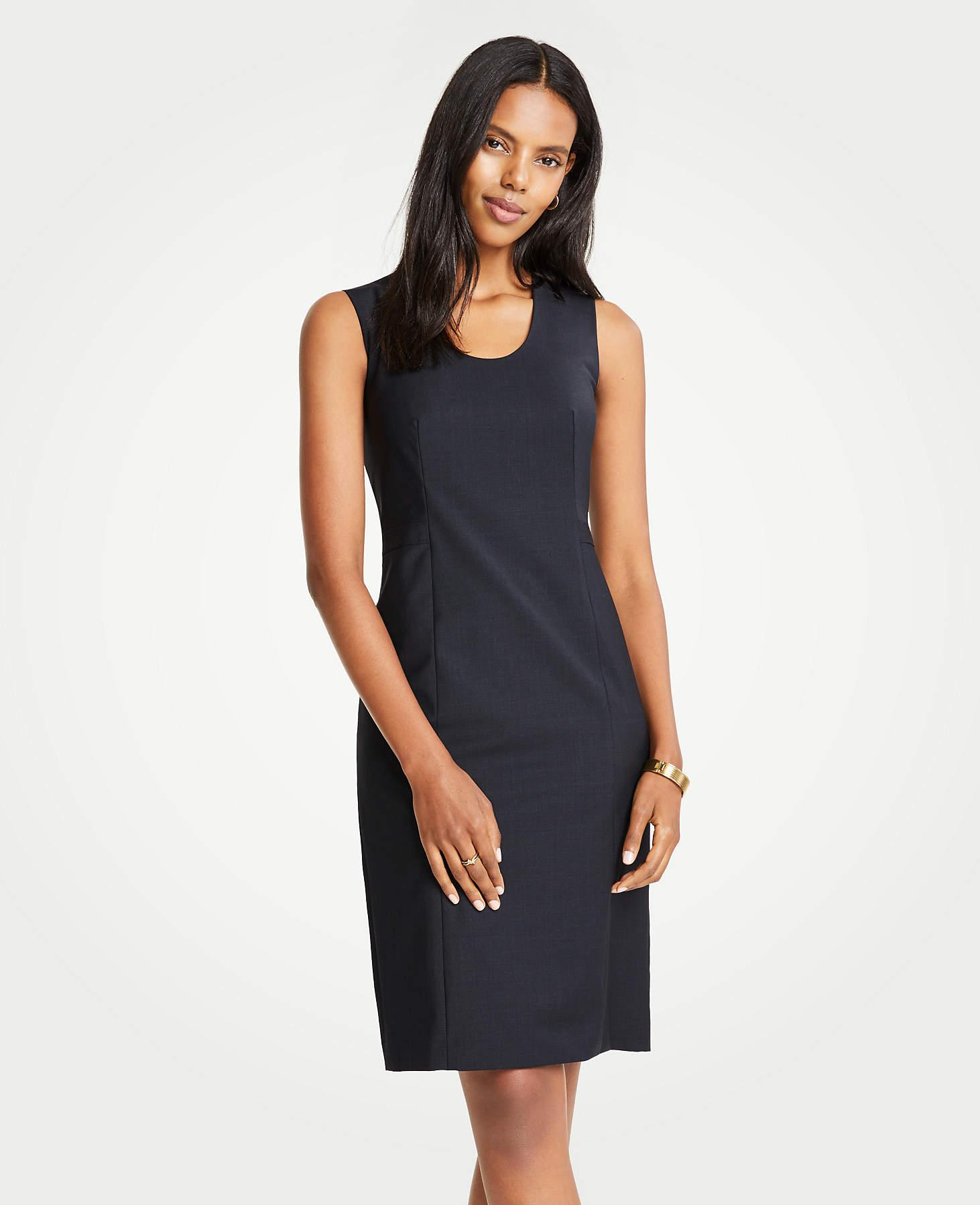 5df35e5643c90b Ann Taylor The Petite V-neck Belted Sheath Dress In Tropical Wool in ...