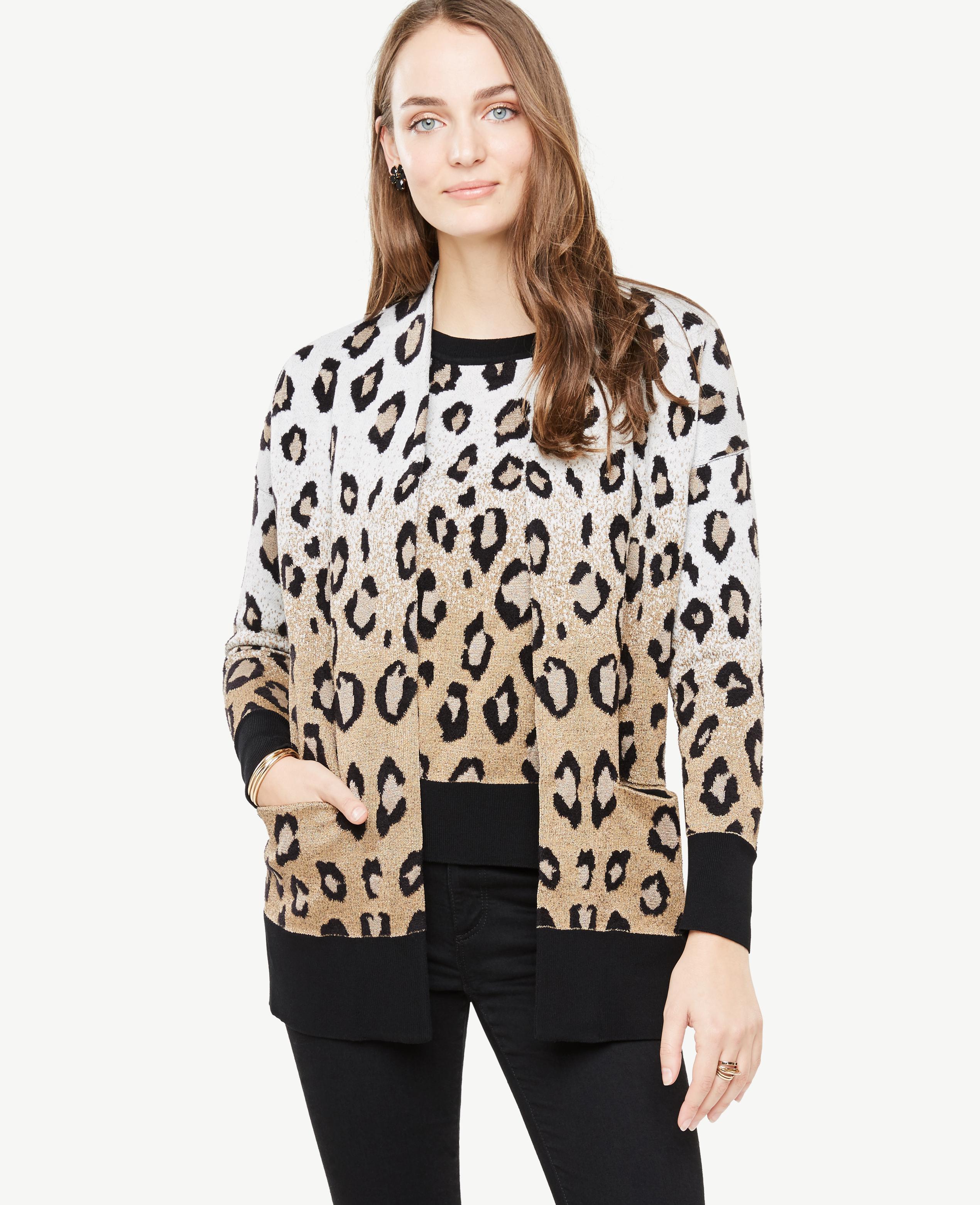 9ef9759fbfb9cd Ann Taylor Petite Leopard Pocket Cardigan - Lyst