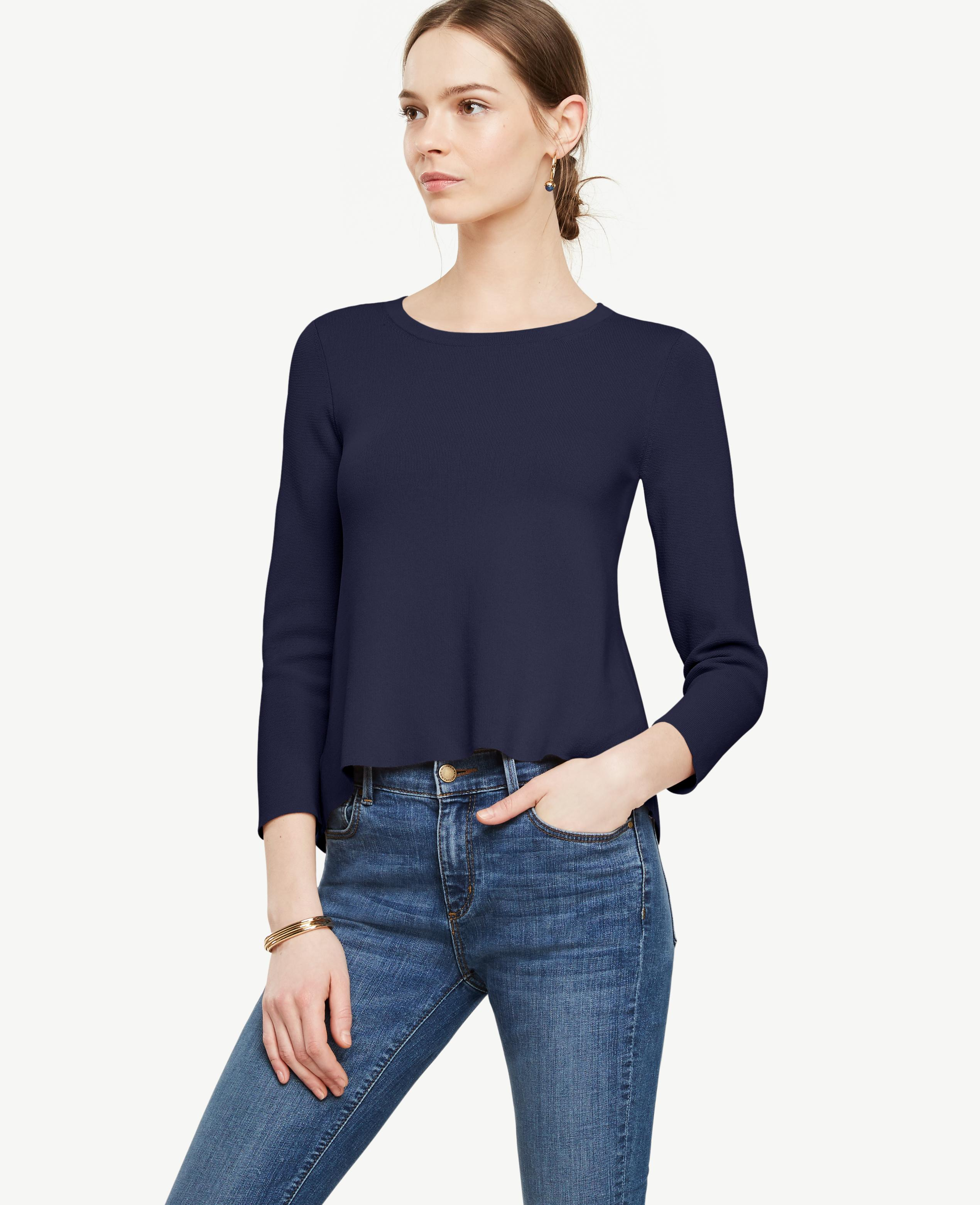 Lyst ann taylor back peplum mixed media sweater in blue for Ann taylor loft fashion island