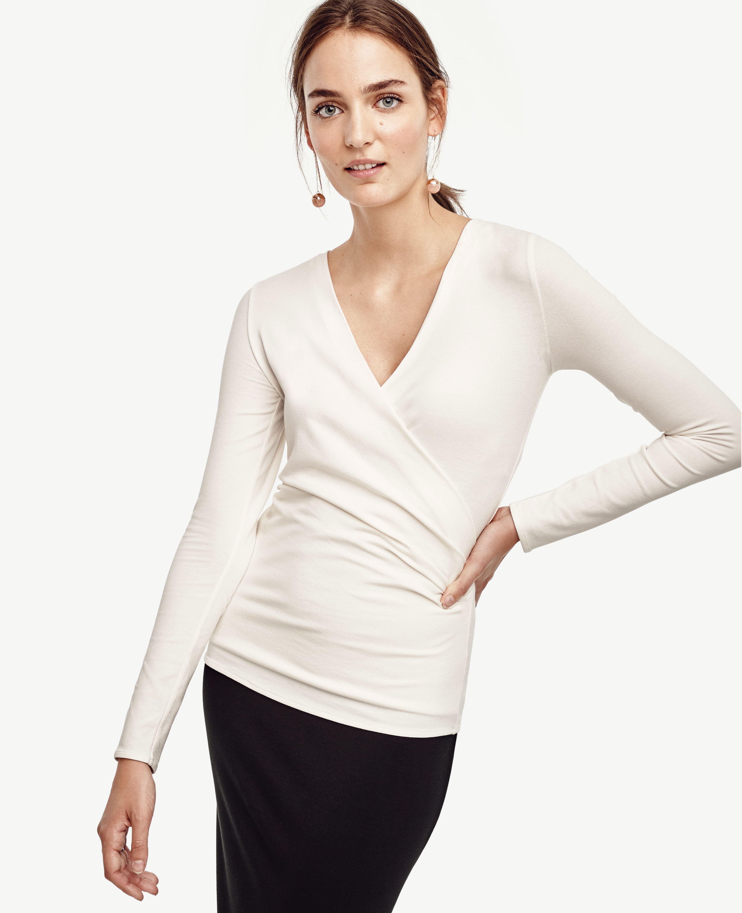 Ann taylor Petite Side Ruched Wrap Top in White