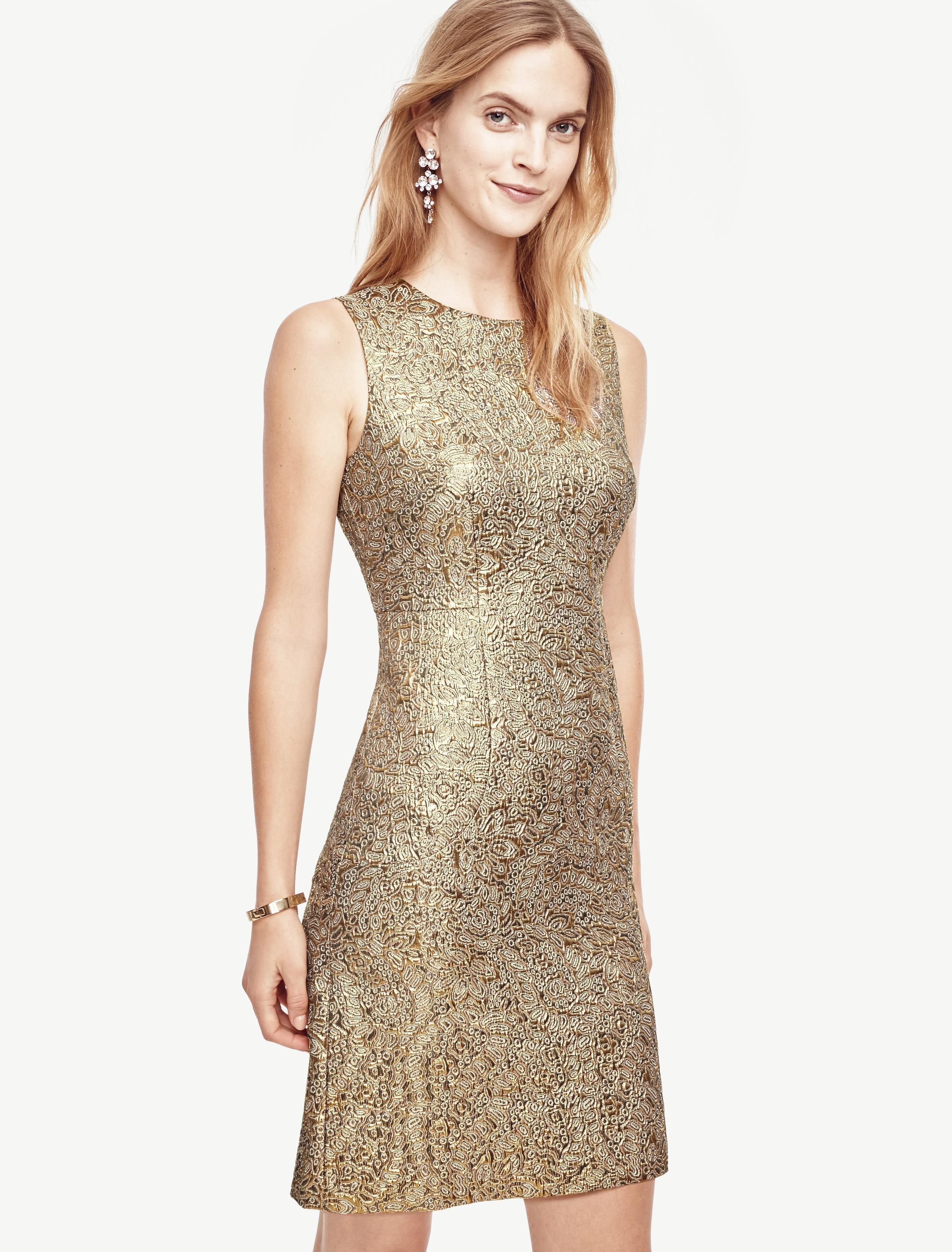 Lyst - Ann Taylor Shimmer Jacquard Flare Dress in Metallic