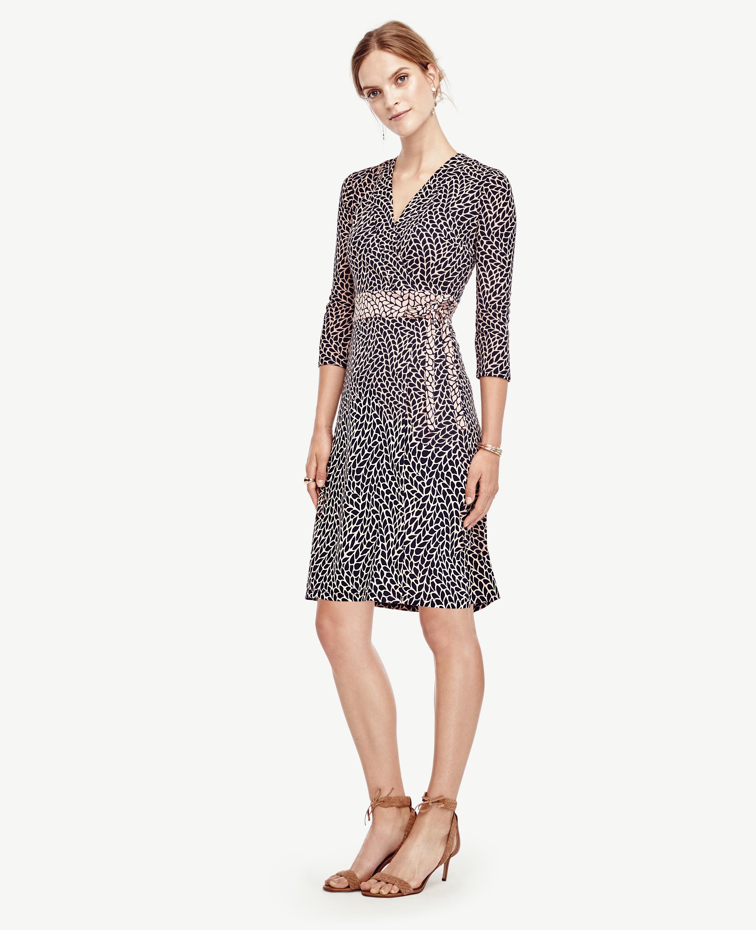 6f894b51447 Lyst - Ann Taylor Petite Leafy Wrap Dress in Gray