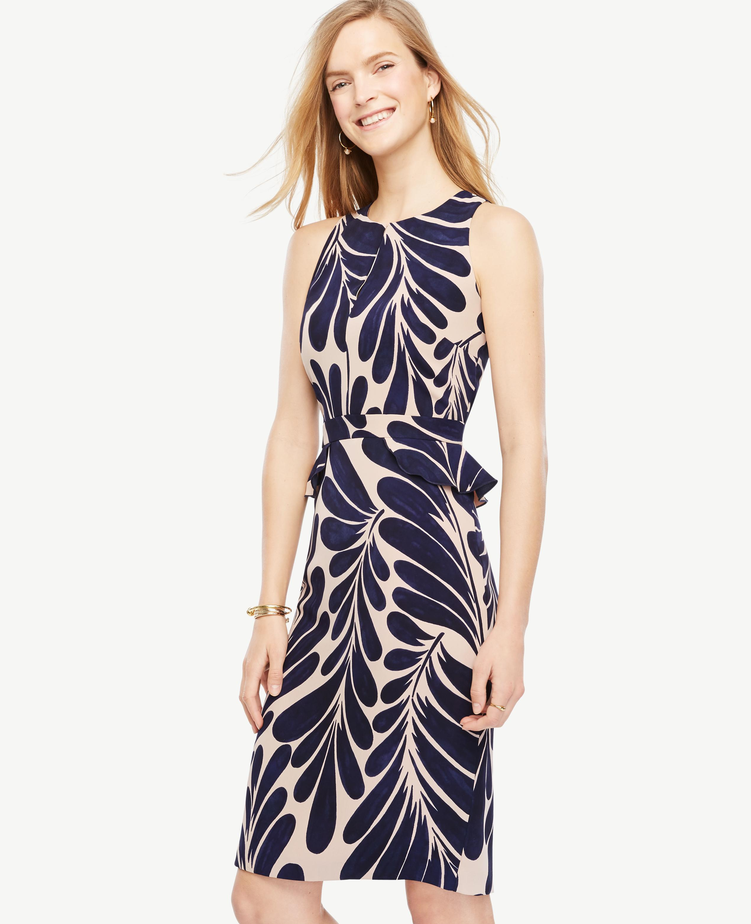 b12cd25f57c4b Ann Taylor Leaf Petal Peplum Sheath Dress in Blue - Lyst