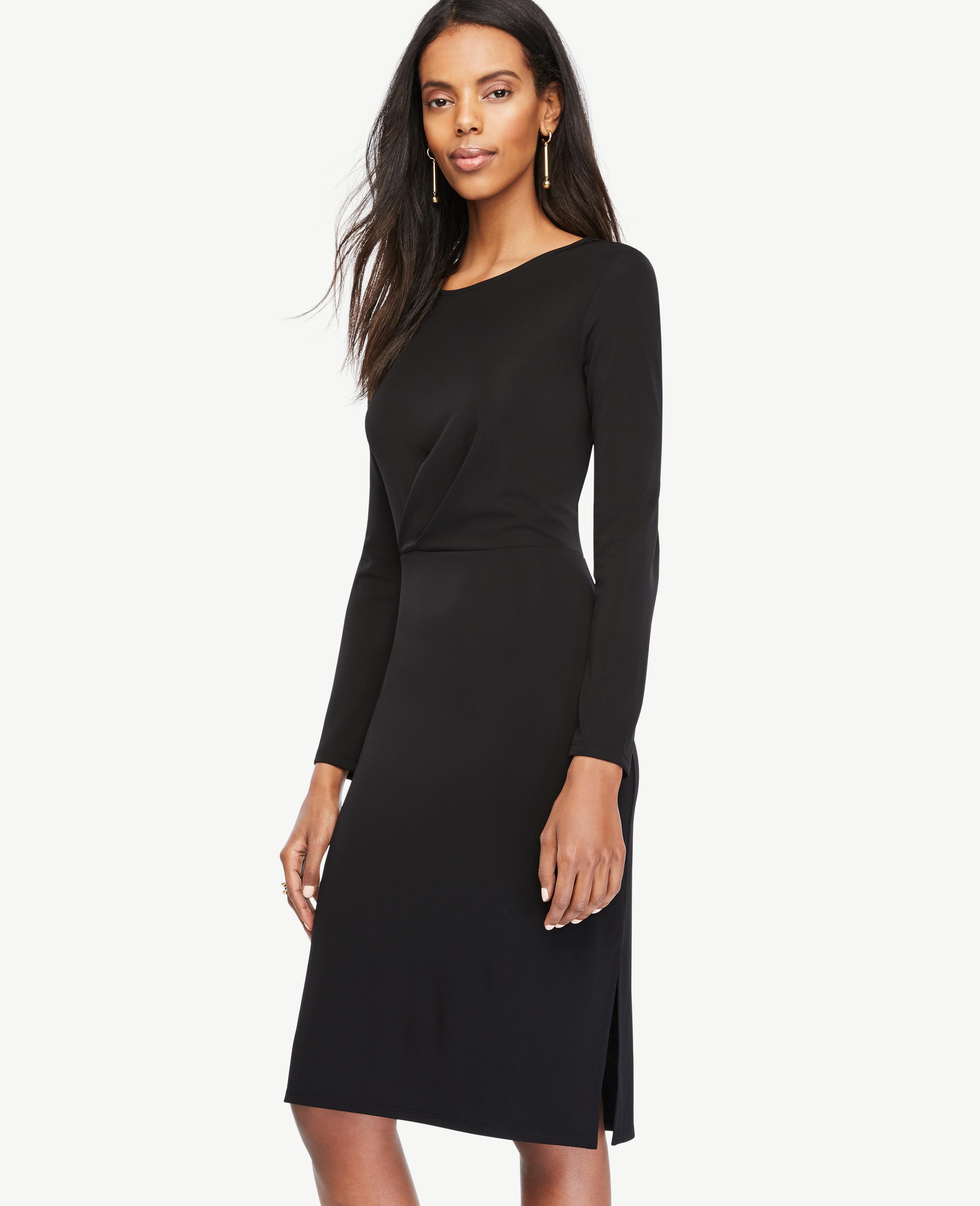 Lyst - Ann Taylor Draped Matte Jersey Sheath Dress in Black