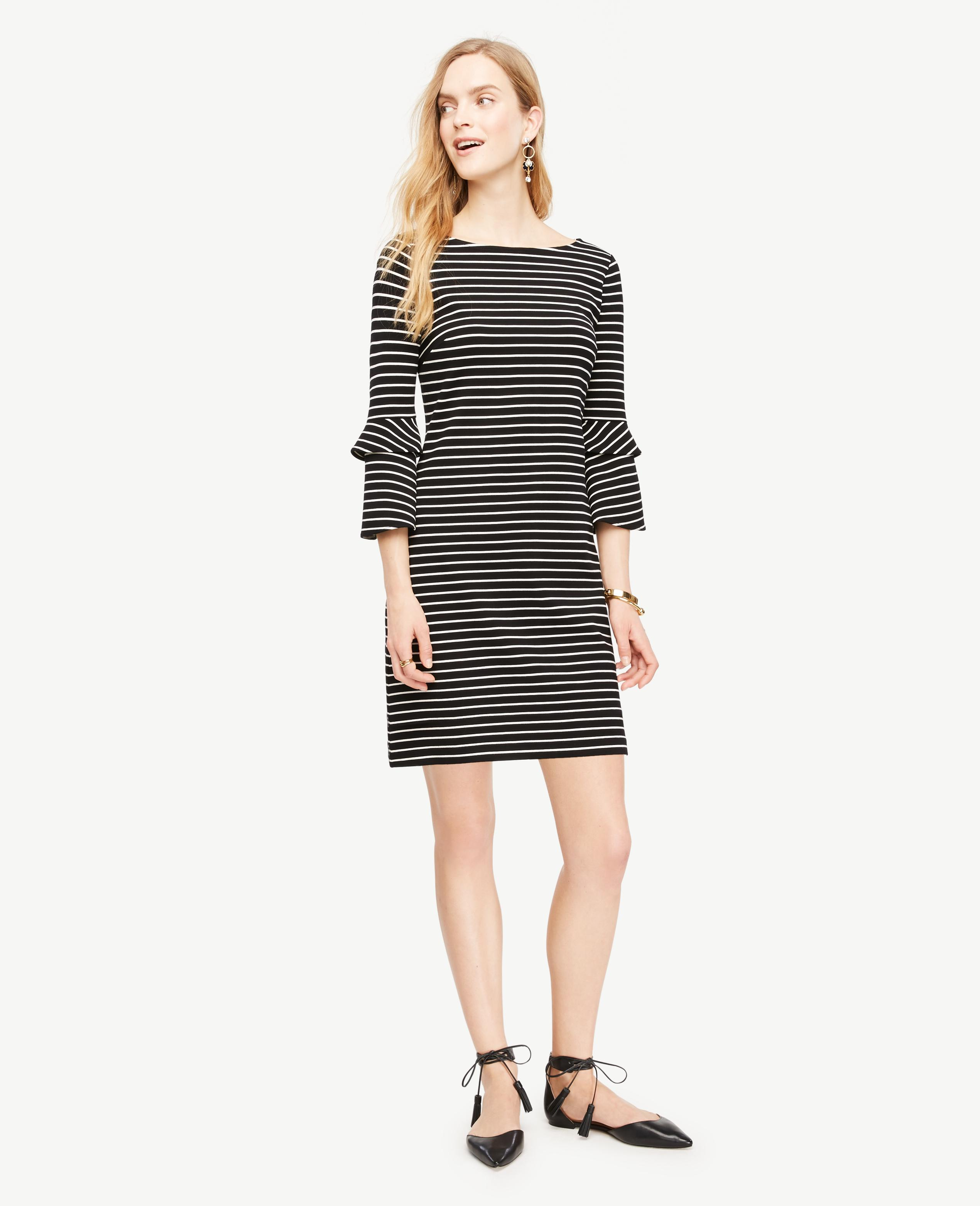 Lyst Ann Taylor Striped Ponte Flare Sleeve Dress In Black