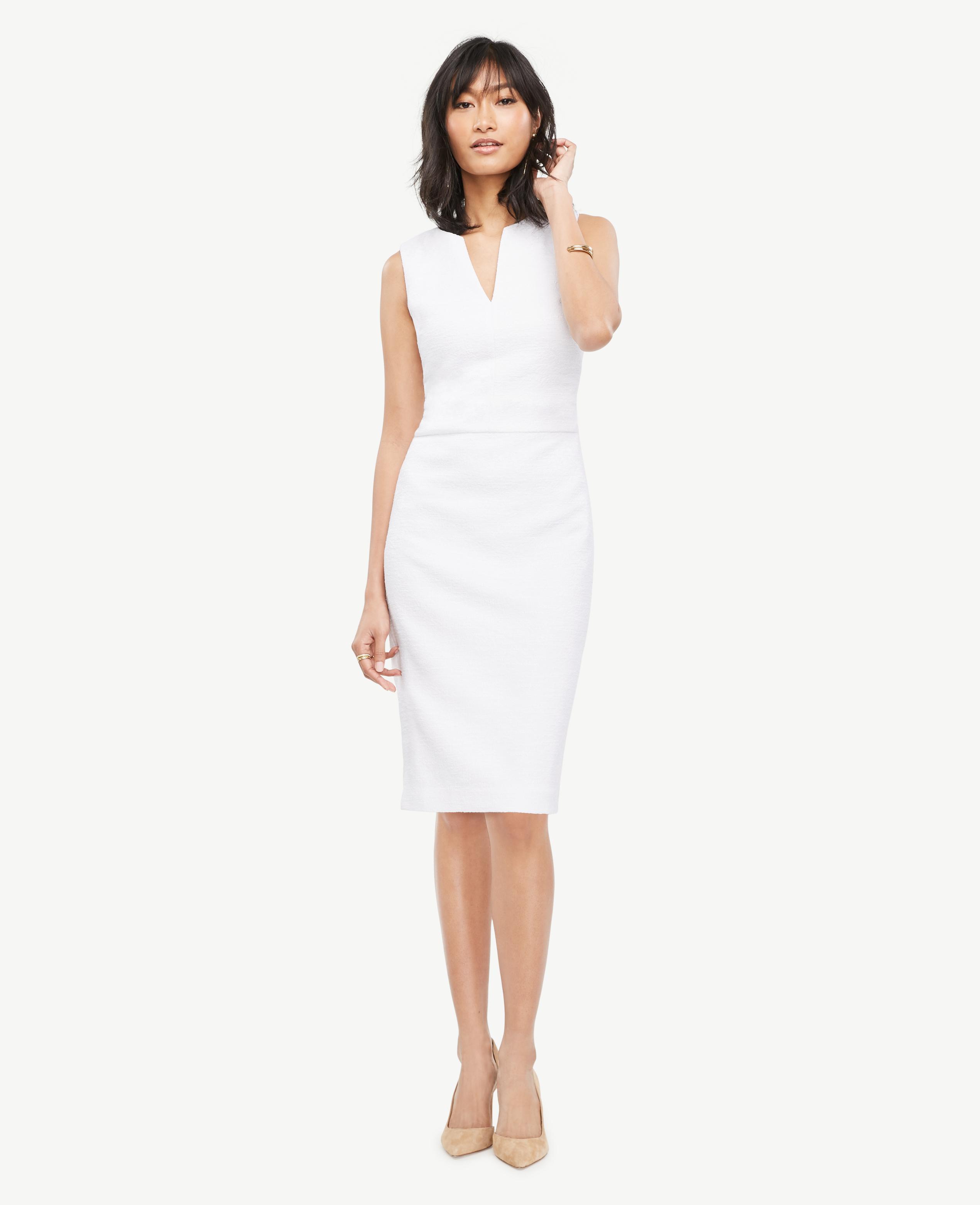 785ff68fa2 Ann Taylor Tweed Split Neck Sheath Dress in White - Lyst
