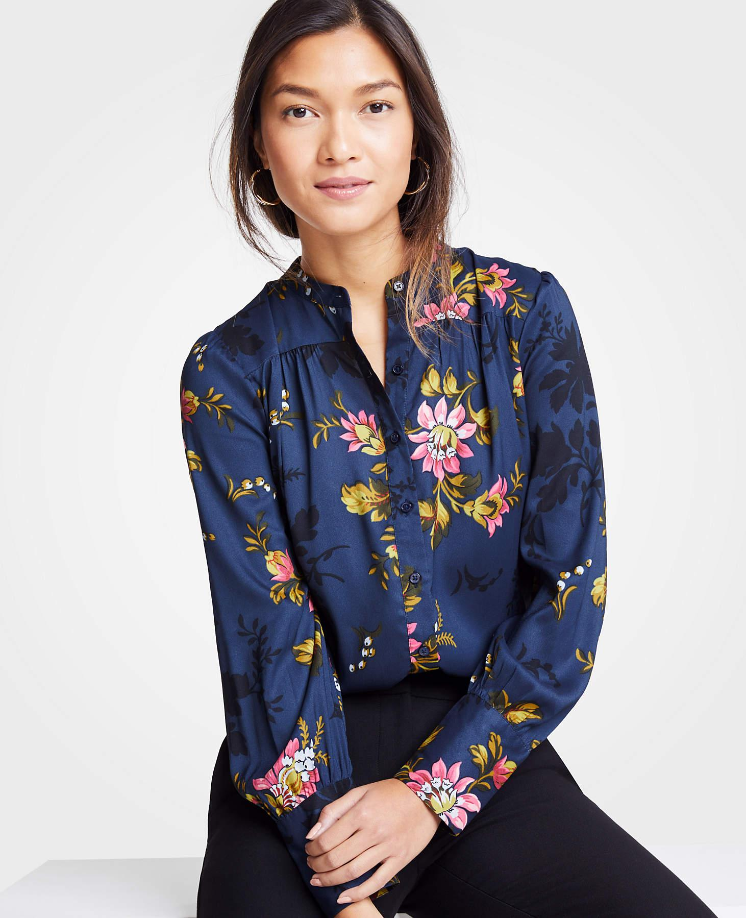 97761645d Ann Taylor Floral Shirred Button Down Blouse in Blue - Lyst