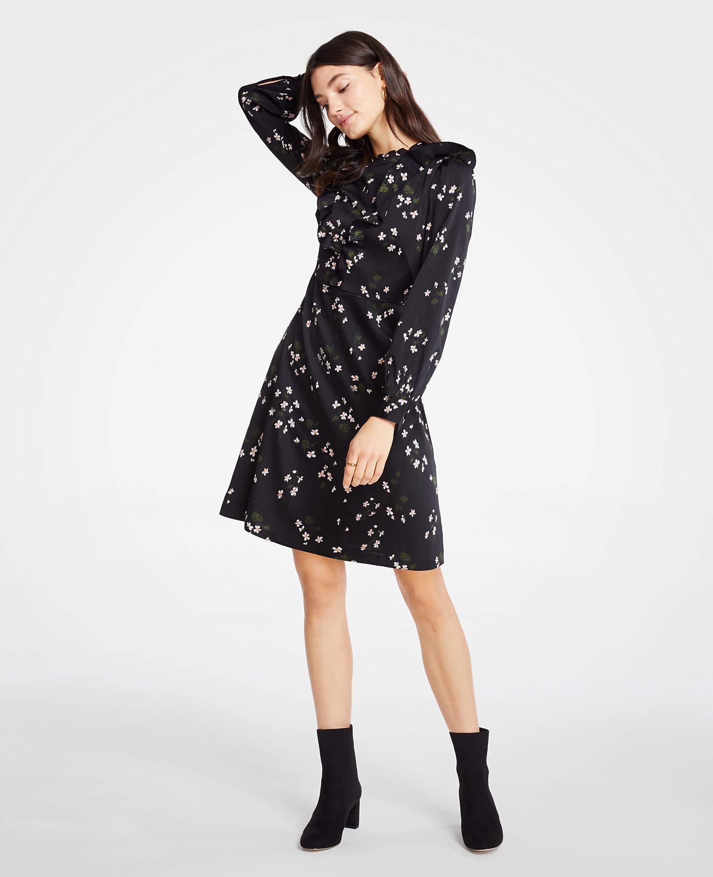8202244d95 Ann Taylor Floral Ruffle Flare Dress in Black - Lyst