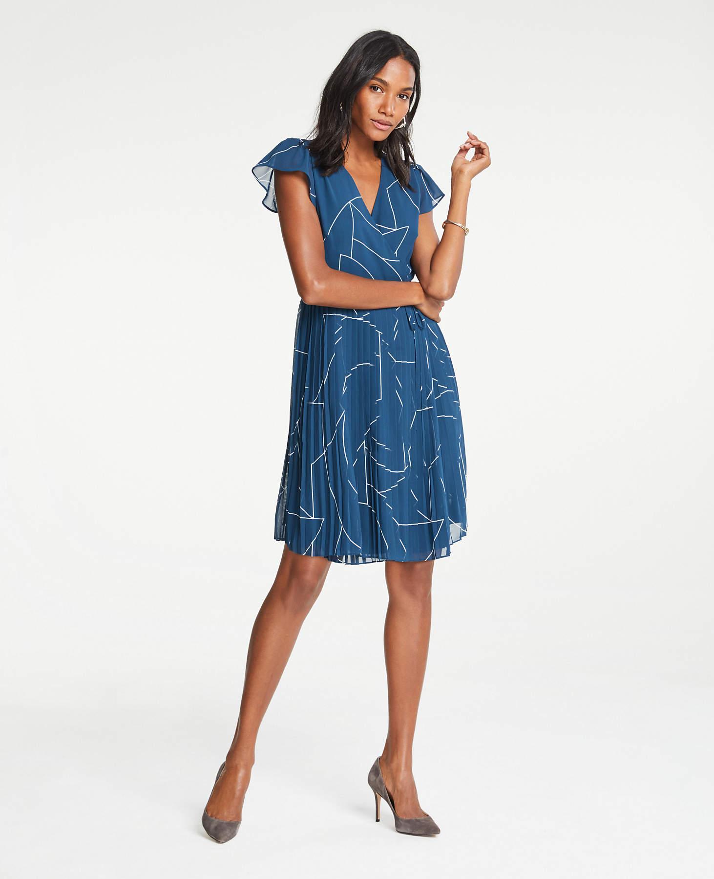 9b5be756a5b1 Ann Taylor Geo Chiffon Wrap Dress in Blue - Lyst