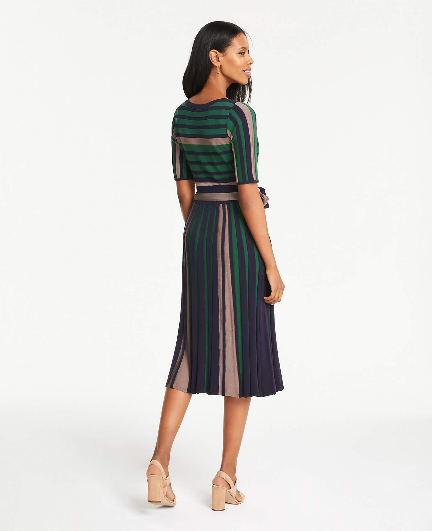 fe6f4cce027 Ann Taylor - Green Petite Mixed Stripe Belted Sweater Dress - Lyst. View  fullscreen