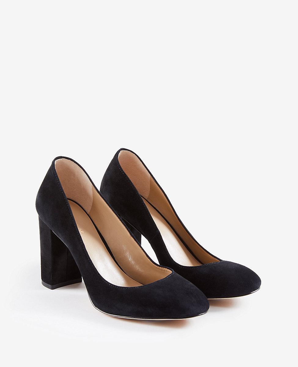 ed7c1009899 Lyst - Ann Taylor Emeline Suede Block Heel Pumps in Black