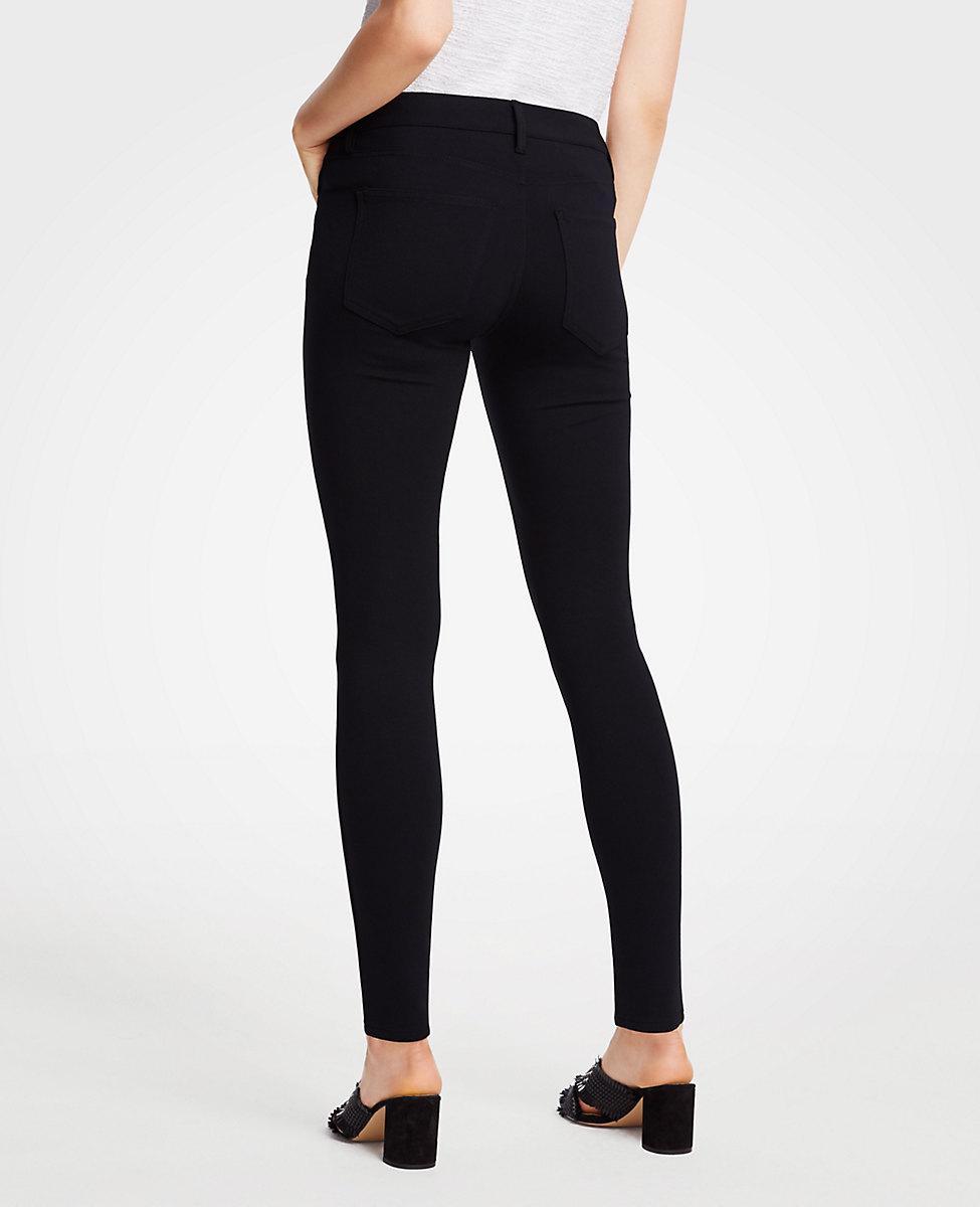 2f0f67b61b93f Lyst - Ann Taylor Petite Ponte Five Pocket Leggings in Black - Save 18%