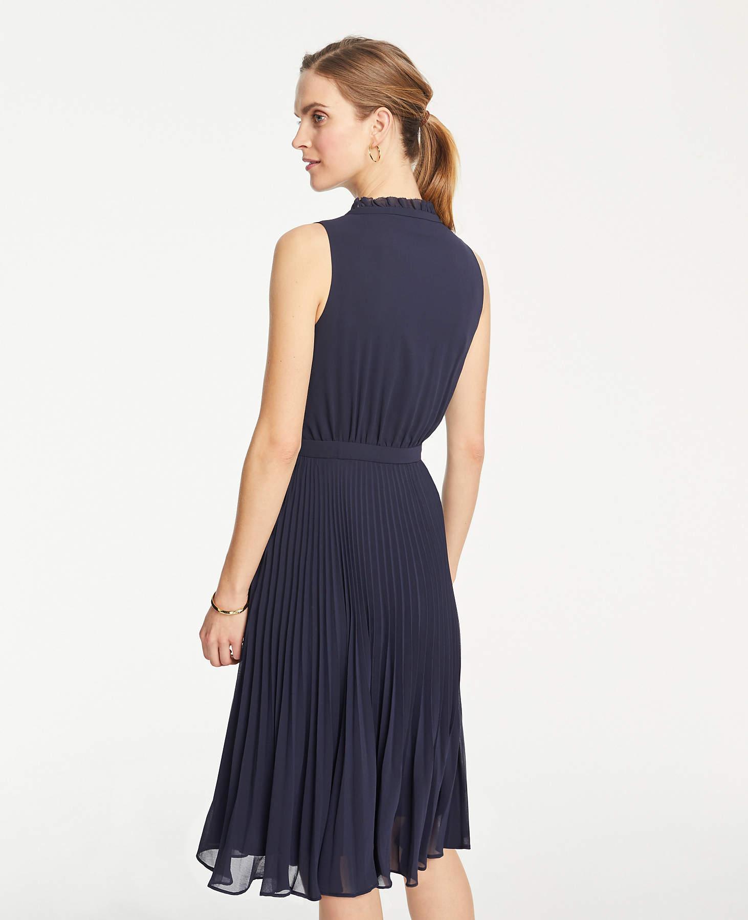 6e9938abfbee8d Lyst - Ann Taylor Petite Ruffle Pleated Flare Dress in Blue