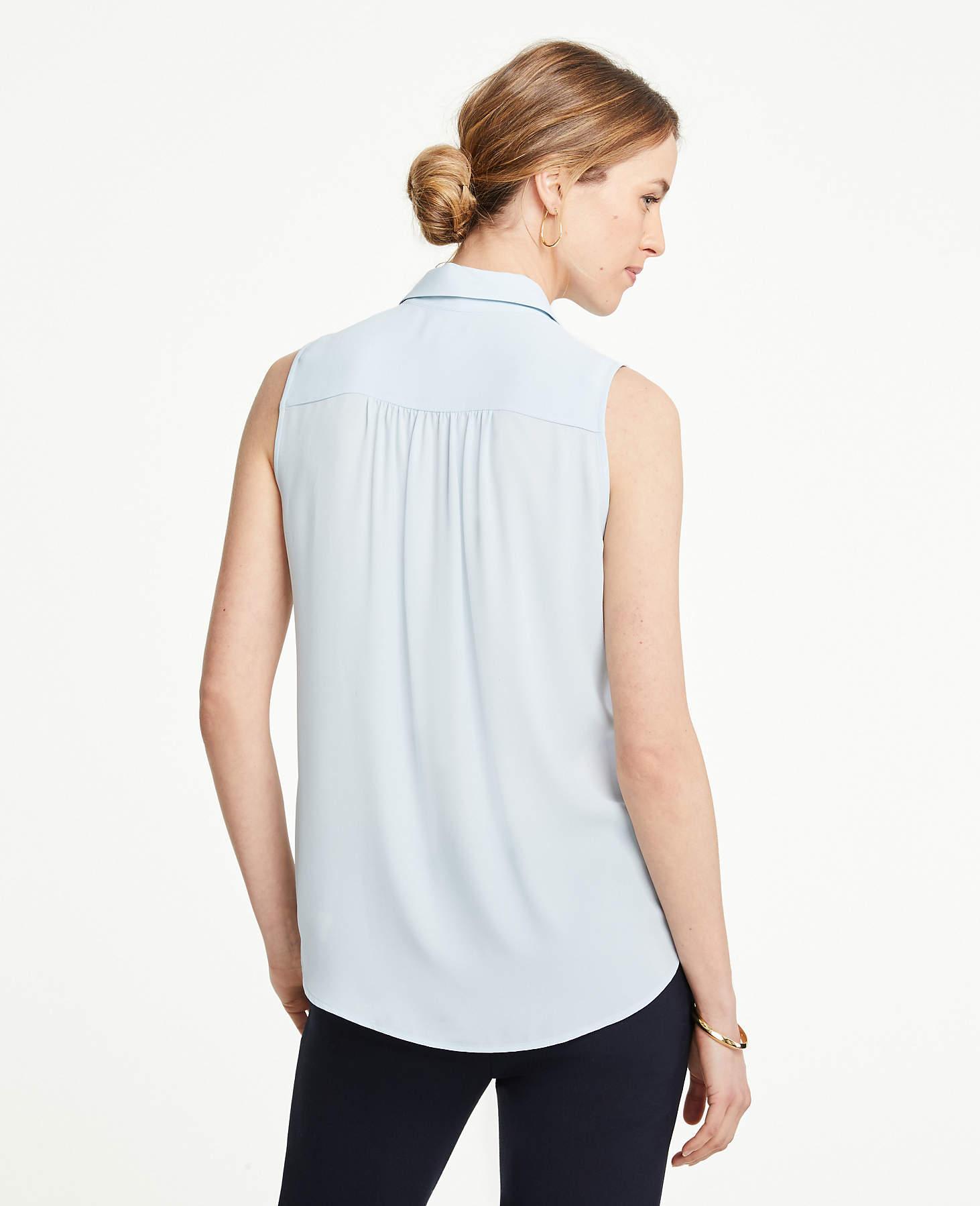 d366f0652bac1b Ann Taylor Tall Sleeveless Camp Shirt in Blue - Lyst