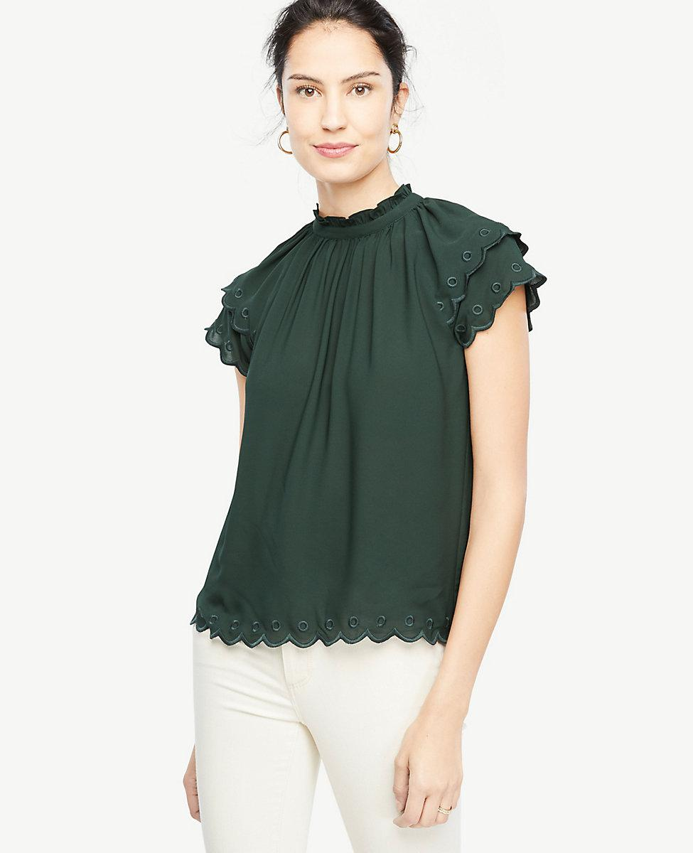85e79aaf9f348e Lyst - Ann Taylor Embroidered Scallop Trim Top in Green