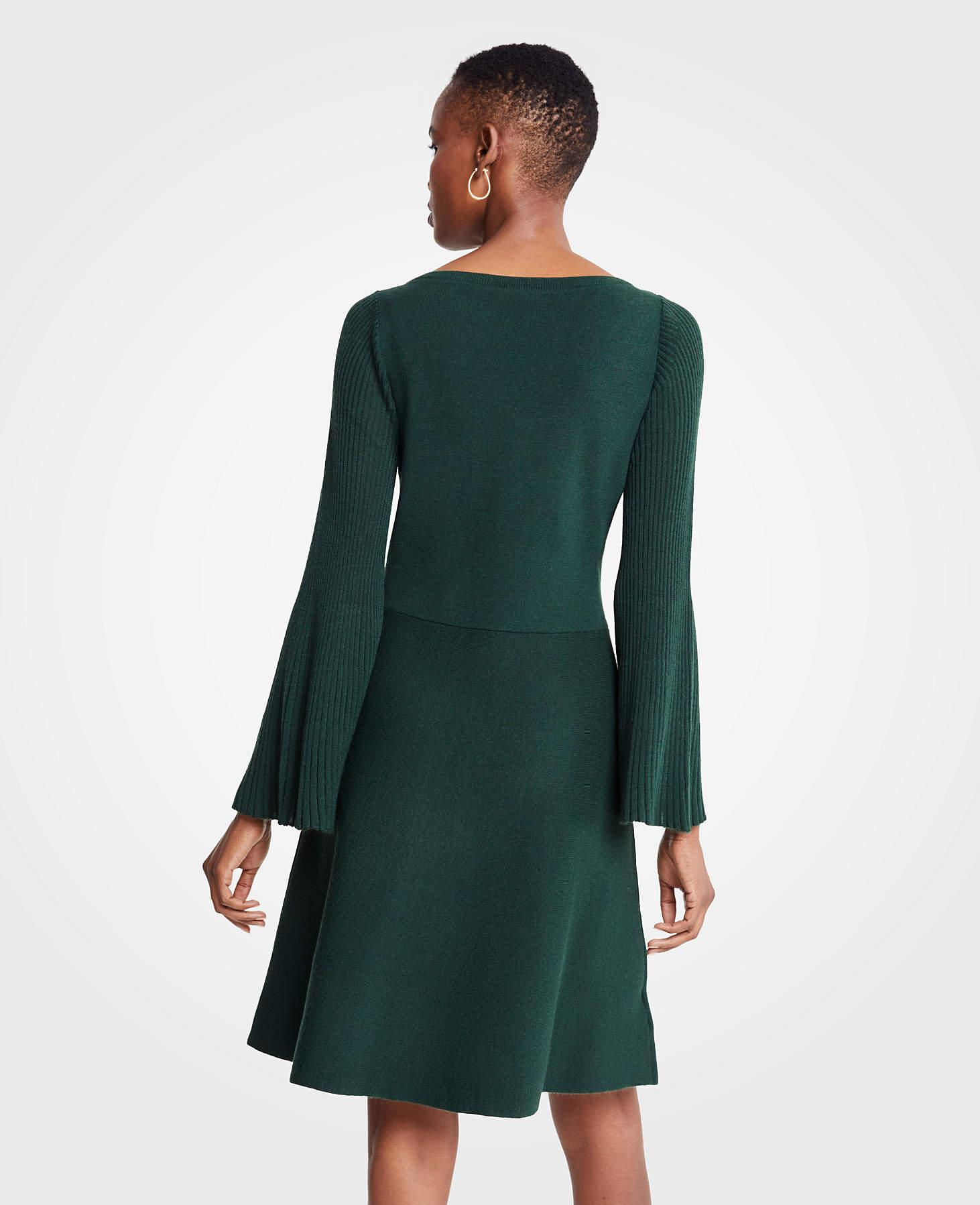 158a37338cb Ann Taylor Petite Pleated Flare Sleeve Sweater Dress in Green - Lyst