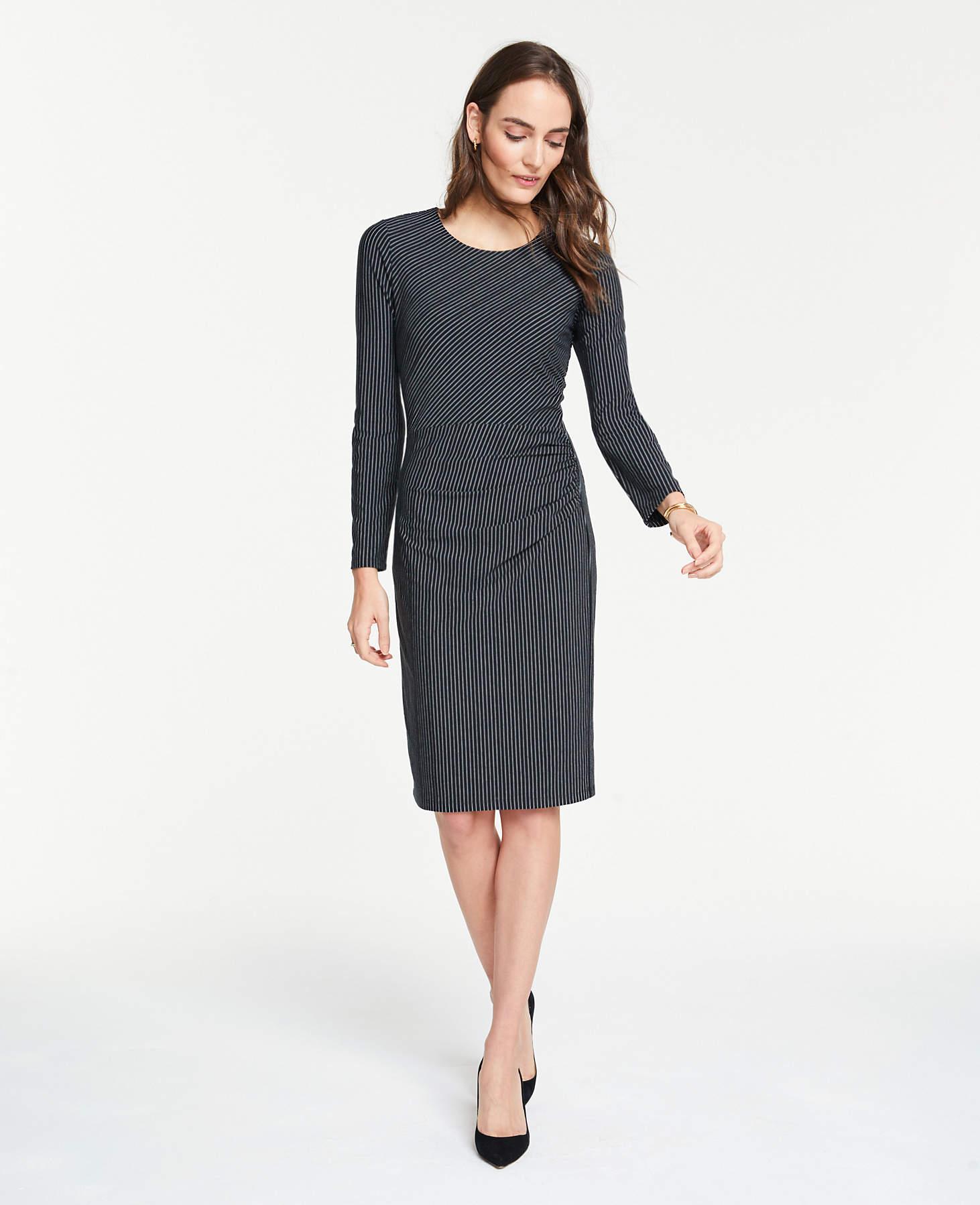 ba06b0aec83 Lyst - Ann Taylor Petite Mixed Pinstripe Knit Sheath Dress in Black