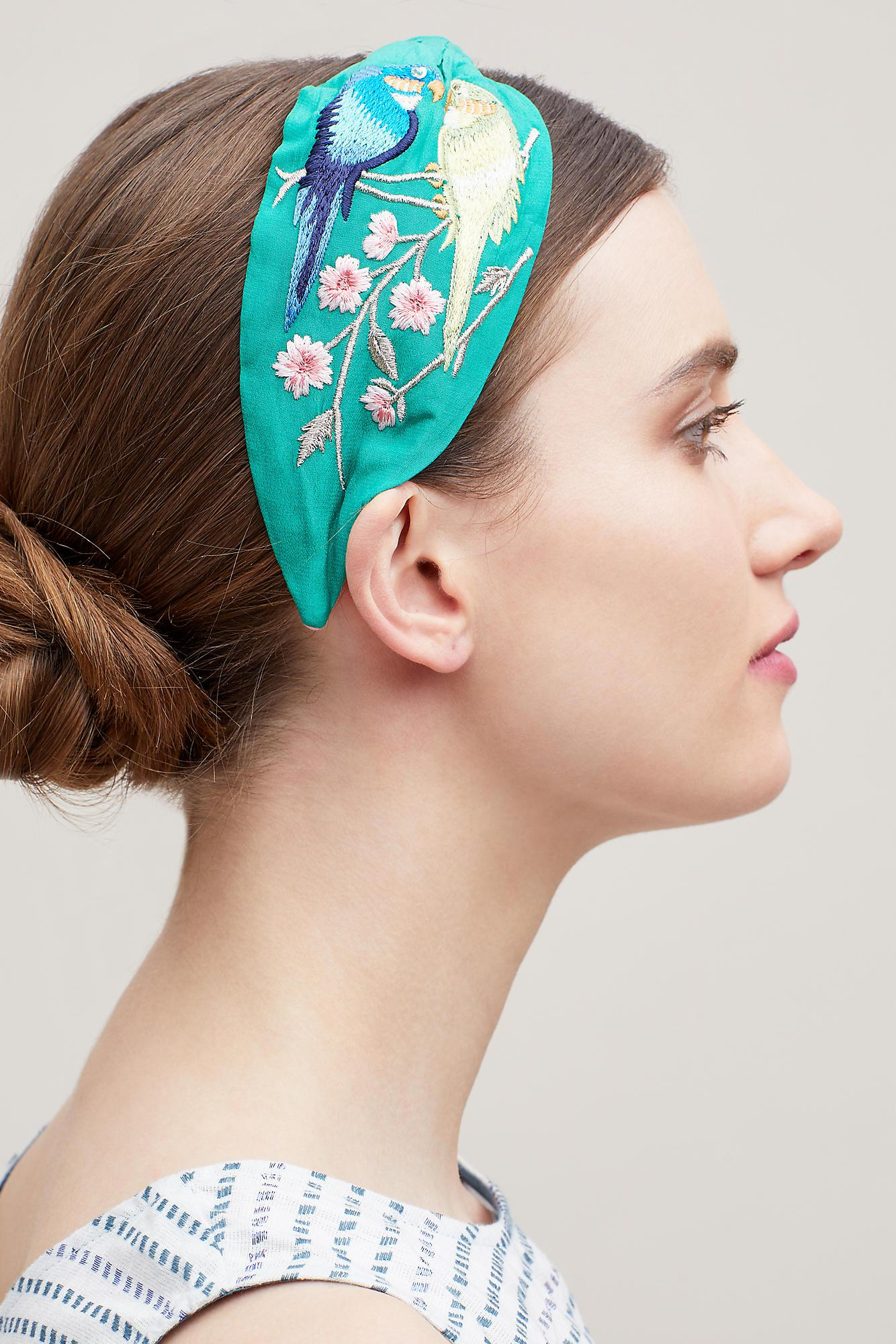 Anthropologie Embroidered Birds Of Paradise Headband in Green - Lyst 61e10ace1d9