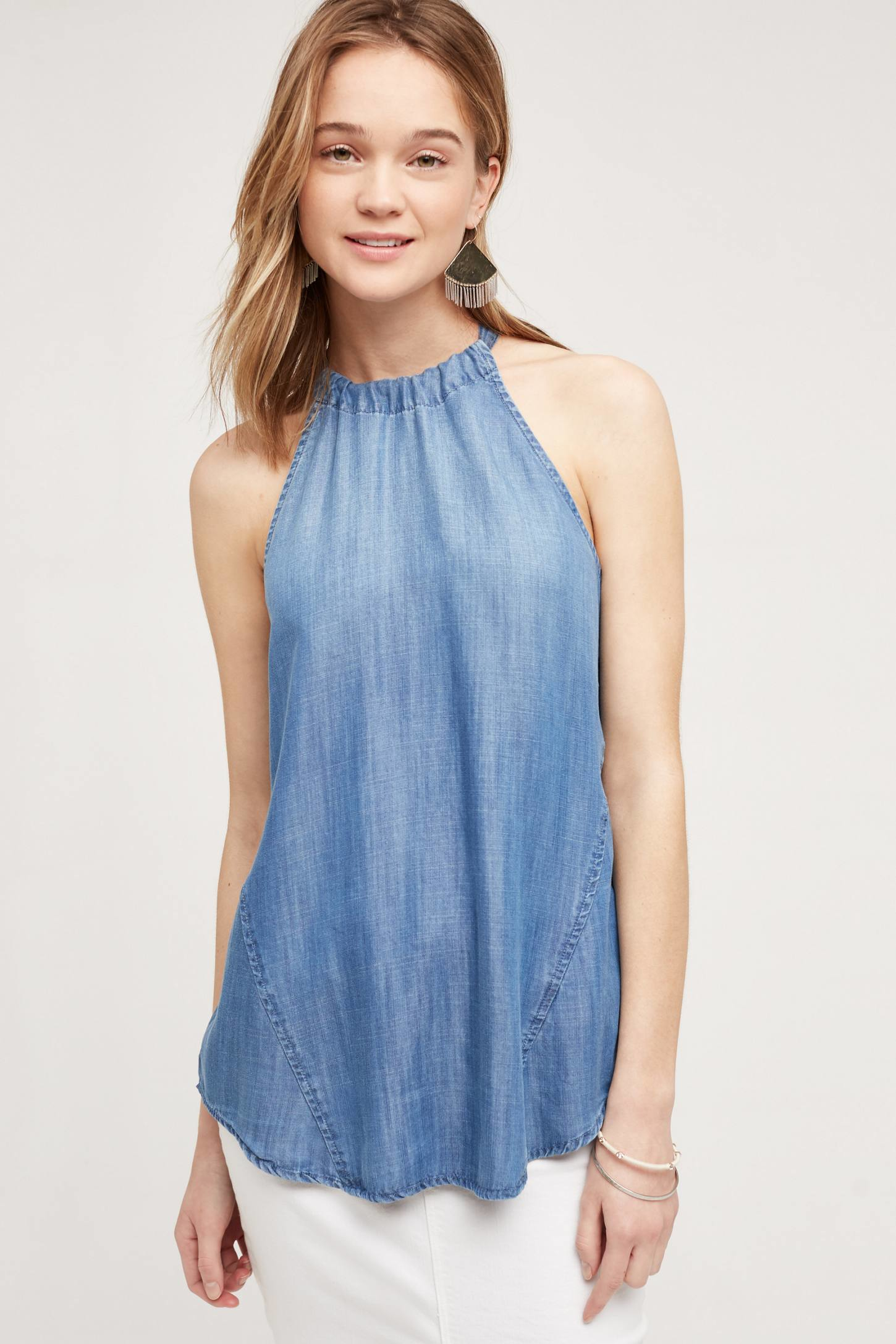 Cloth Amp Stone Chambray Halter Top In Blue Lyst