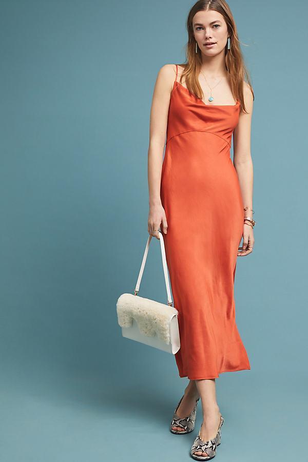 5109deafbb Anthropologie Bias Slip Dress in Orange - Lyst