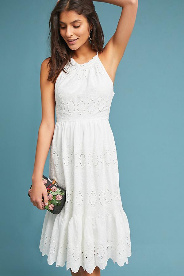 dd712a5b6 Maeve Tiered Eyelet Midi Dress in White - Lyst