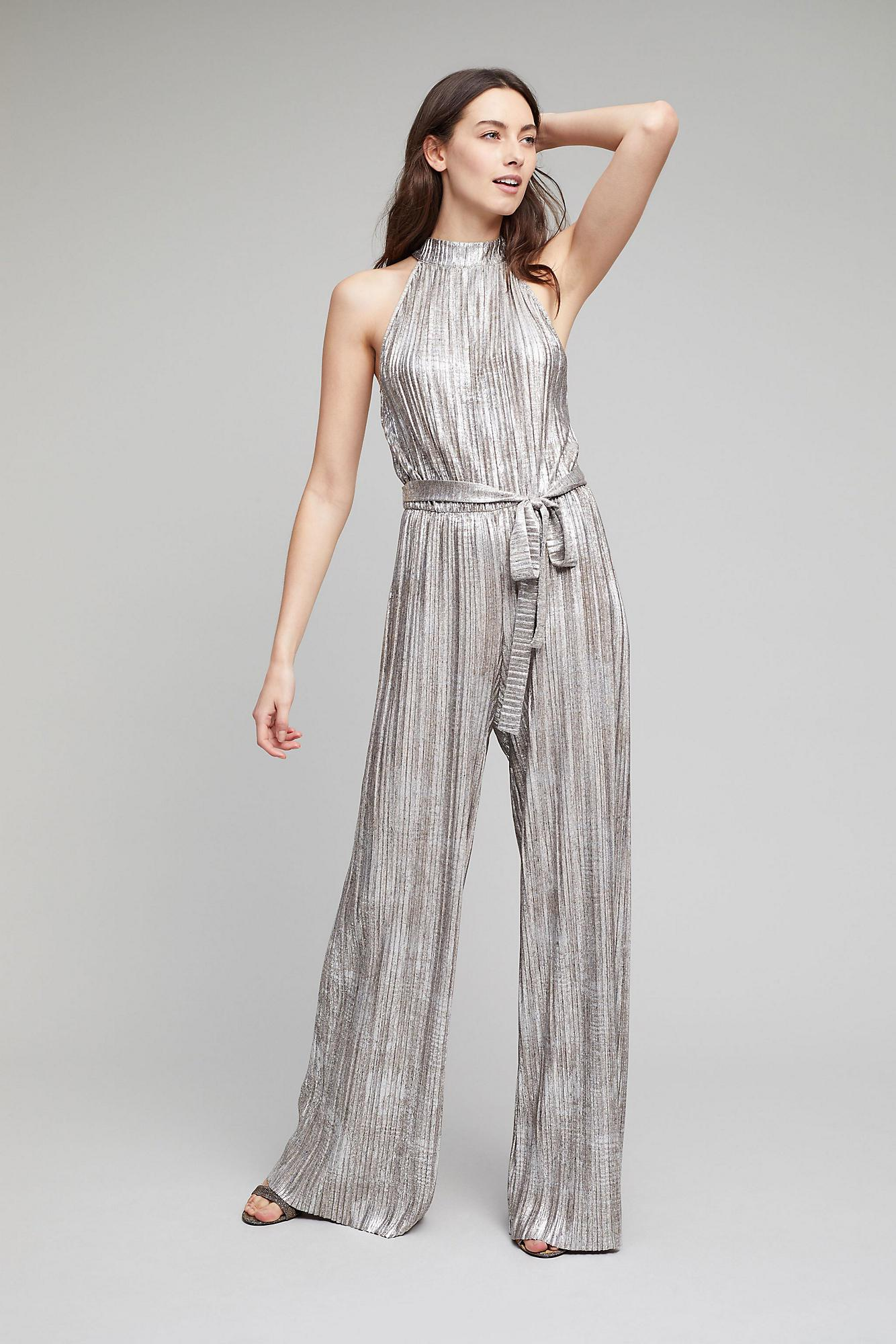 e94e3b208ef Lyst - Anthropologie Evelyn Metallic Pleated Jumpsuit in .