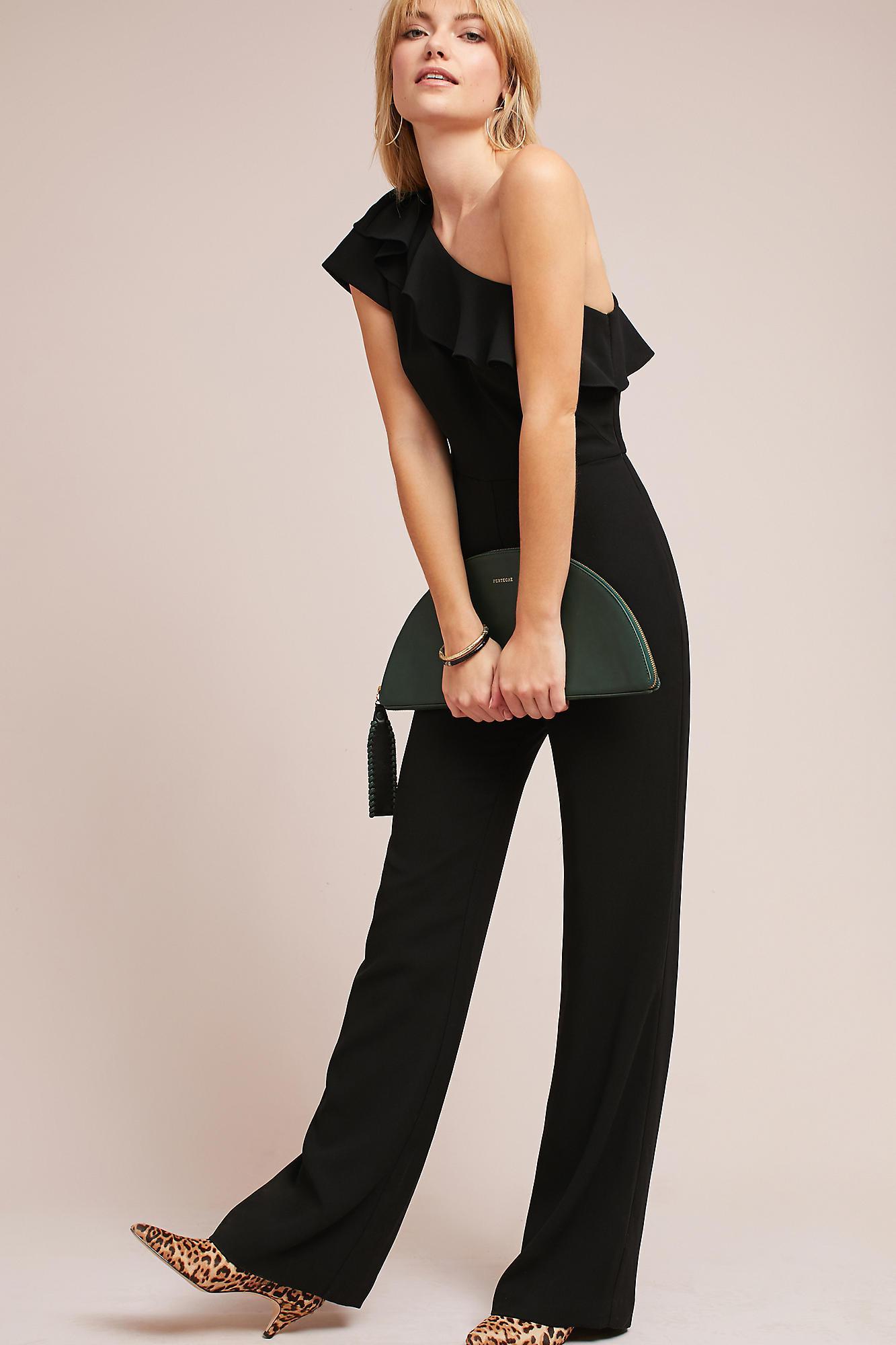 473cdd5039c Lyst - Ml Monique Lhuillier One-shoulder Jumpsuit in Black