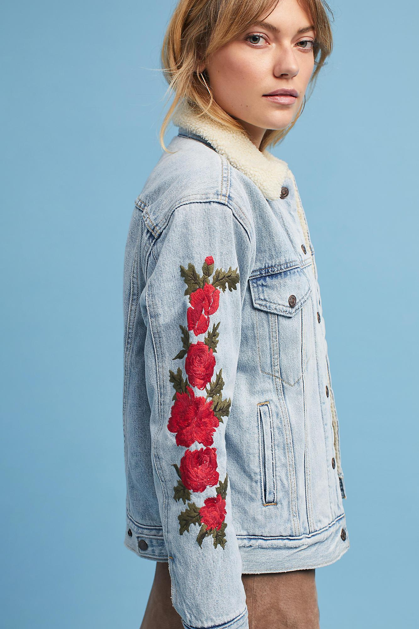 Levi S Embroidered Sherpa Trucker Jacket In Blue Lyst