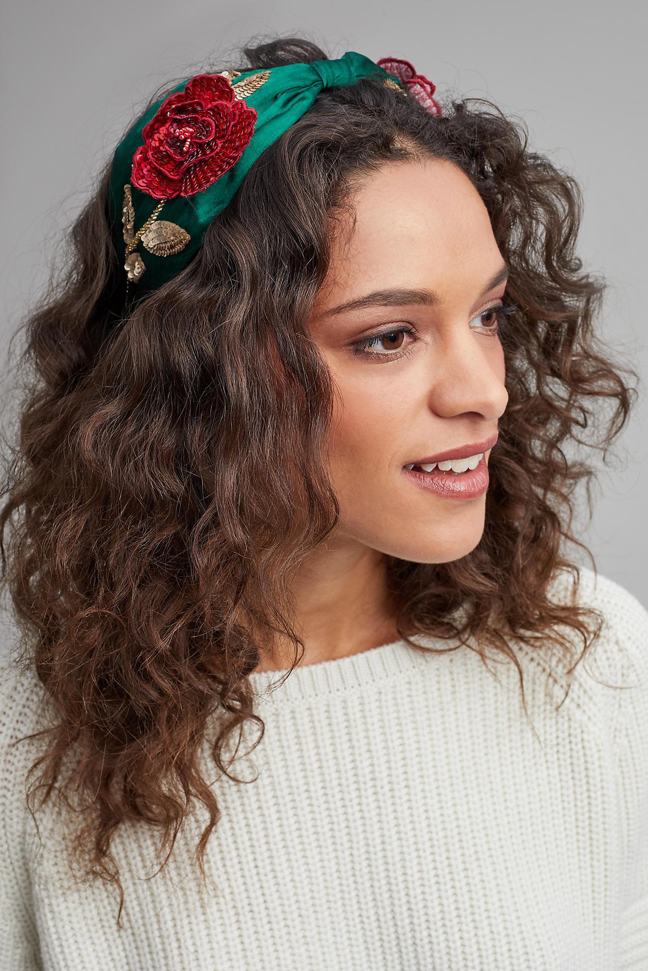 Anthropologie Rose Embellished Turban Headband in Green - Lyst c4c23cb22ef