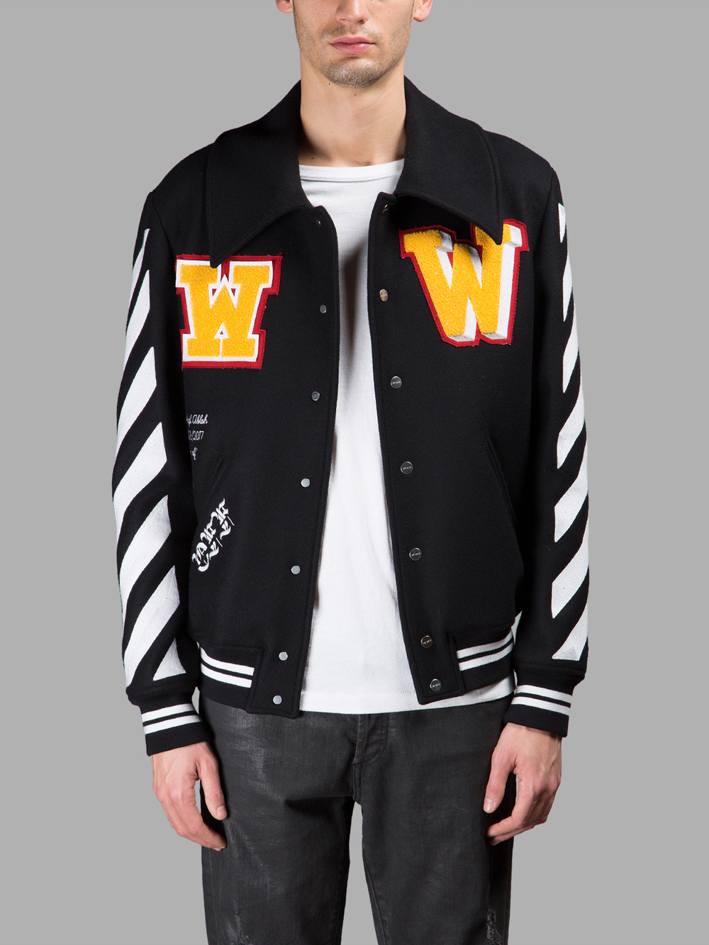 Off-white c/o virgil abloh Letterman Patch Jacket in ...