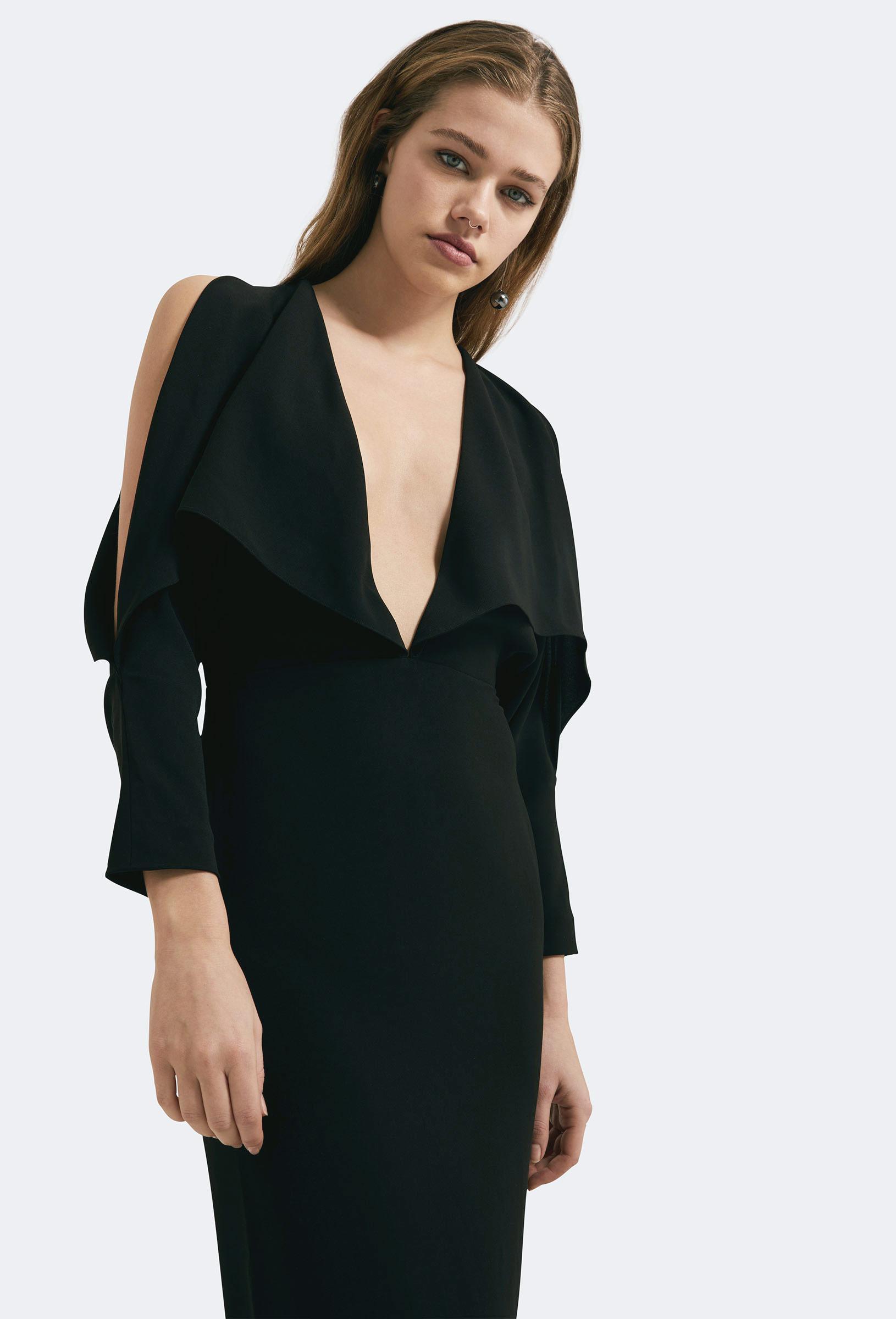 1f77191fc3 AQ AQ Larissa Deep Plunge Maxi Dress Black in Black - Lyst