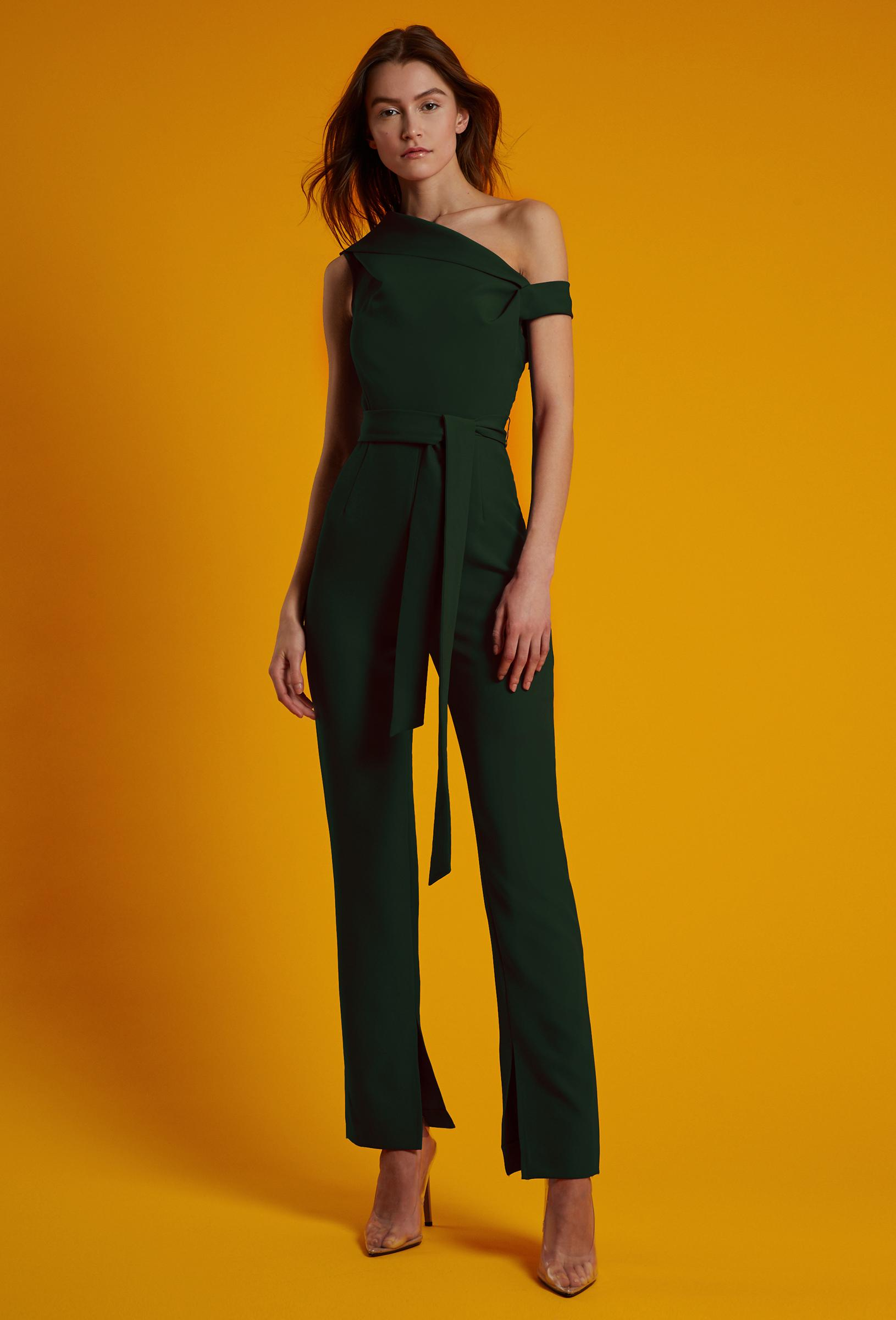 4eb8b86fbedb Lyst - AQ AQ Didion Structured Jumpsuit in Green