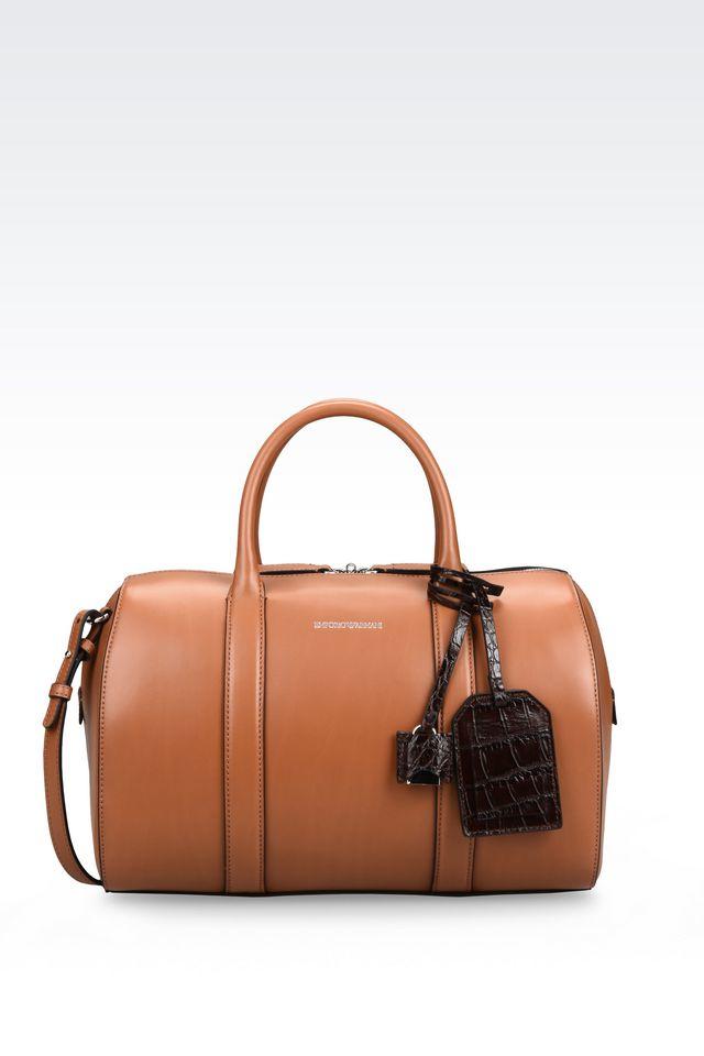 Borse Armani 2017 : Emporio armani bauletto bag in brown lyst